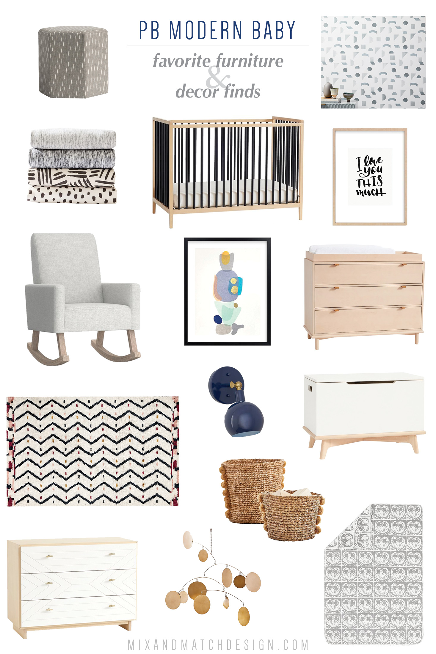 Have you seen Pottery Barn's new Modern Baby collection? They've got an amazing selection of modern baby furniture like cribs and dressers, as well as plenty of decor to go with it. Some of the pieces are in collaboration with West Elm, their sister brand. I'm loving what I'm seeing!