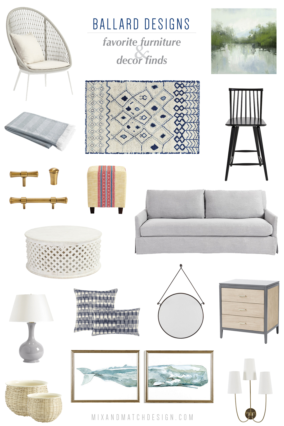 Are you a fan of Ballard Designs? They've got a beautiful collection of classic style furniture and home decor with a coastal twist. I rounded up my favorite pieces for your living room, dining room, bedroom, and more in this blog post. Click the image to take a look and get all the sources!