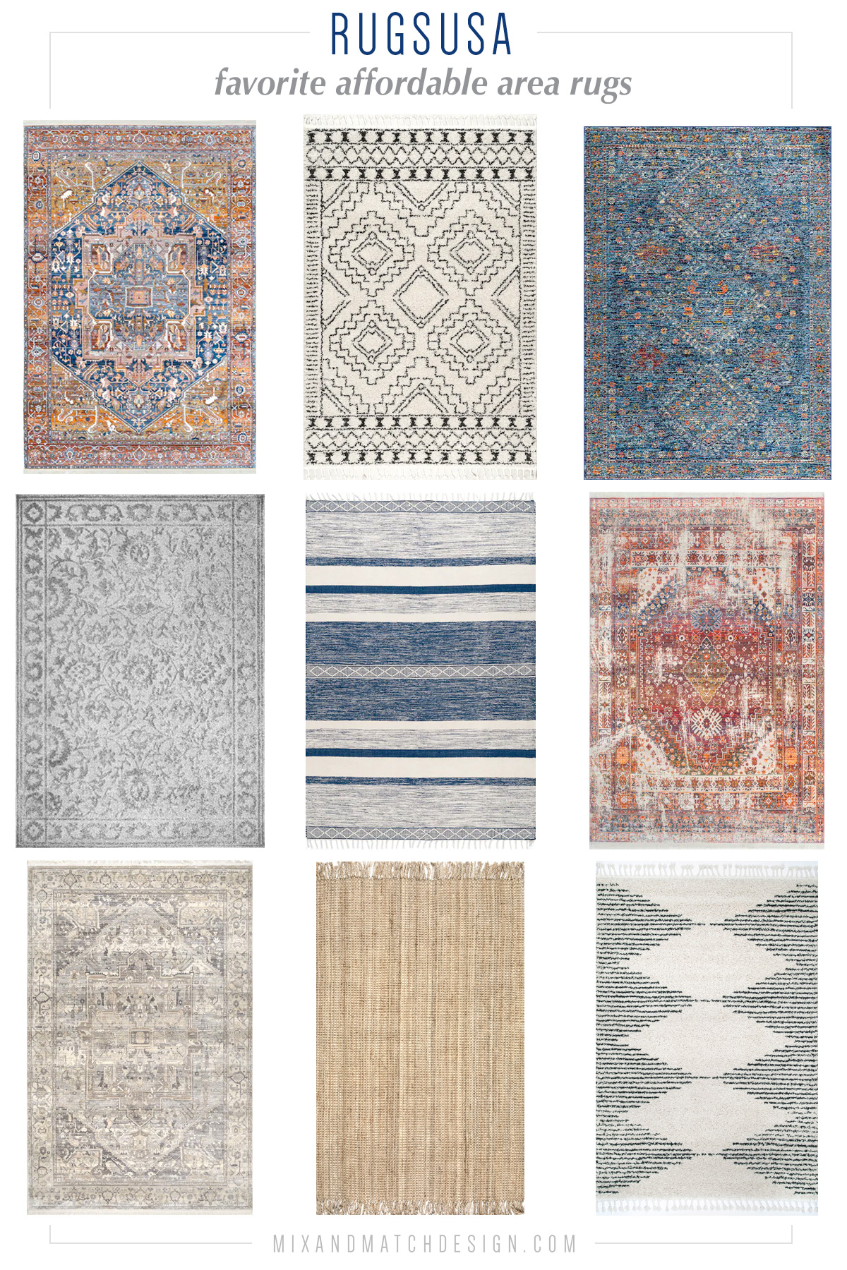 Looking for an affordable area rug? RugsUSA has a great selection of budget-friendly rugs in lots of styles - from Persian-style, to coastal, to traditional, to boho. Click the image to take a look and get all the sources!