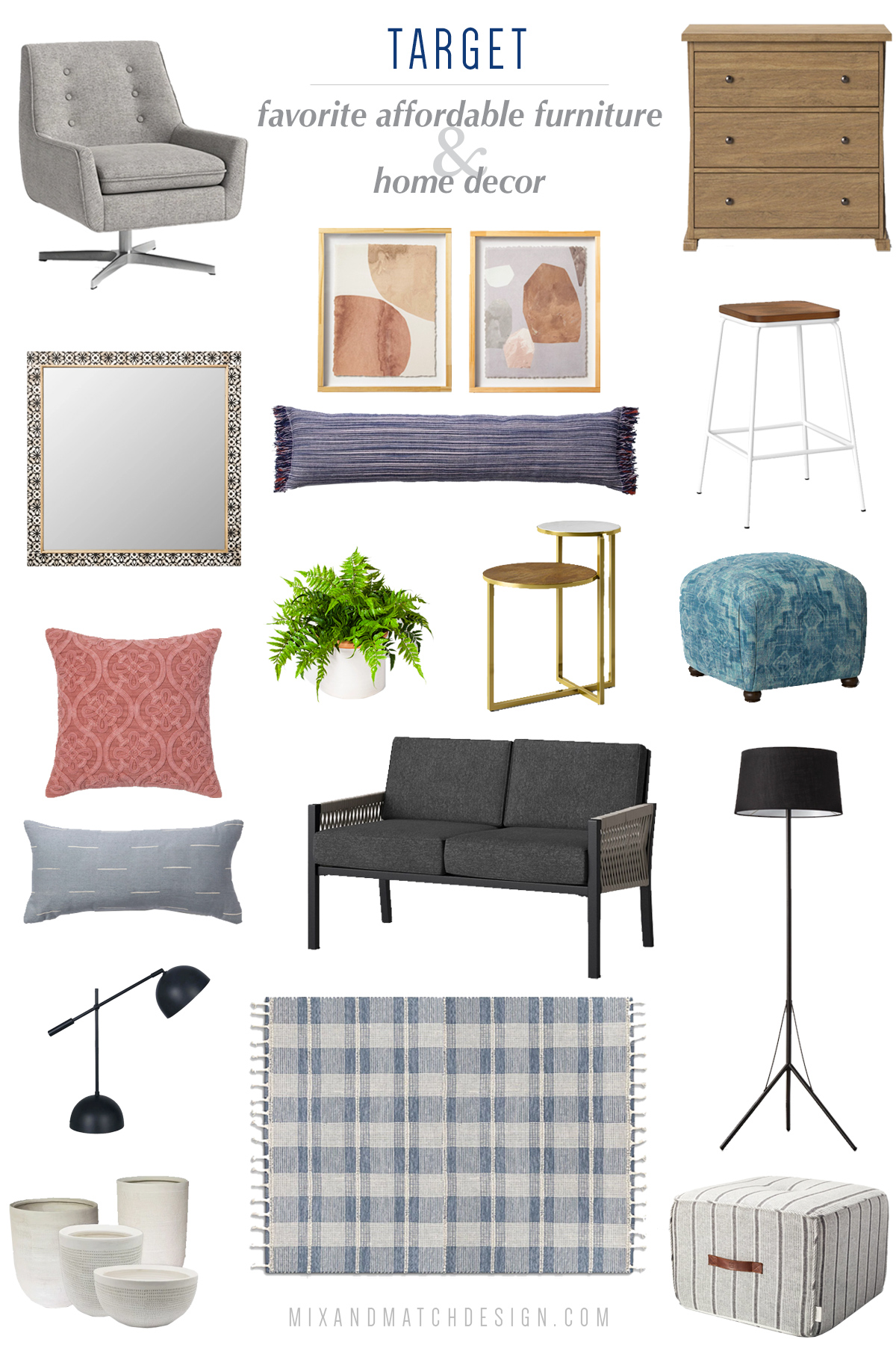 "Looking for affordable furniture and home decor? Target is a great place to shop! Their ""house brands"" like Project 62, Threshold, Opalhouse, and Hearth & Hand are fabulous resources for modern, farmhouse, and boho decorating styles. Click the image to take a look and get all the sources!"