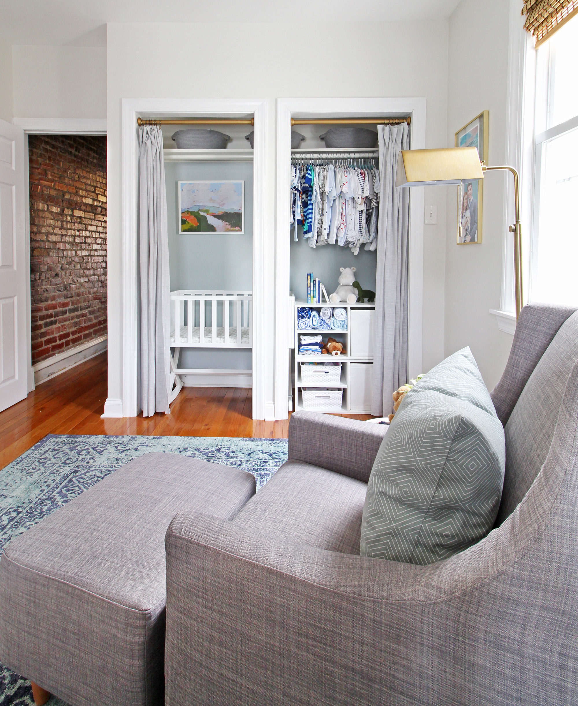 "Come on over to the Mix & Match Design Company blog for this cozy modern nursery nook reveal! This space is shared with a home office and is full of great ideas on how to squeeze in a small nursery into a closet. The ""nursery nook"" concept is perfect if you live in a smaller home."