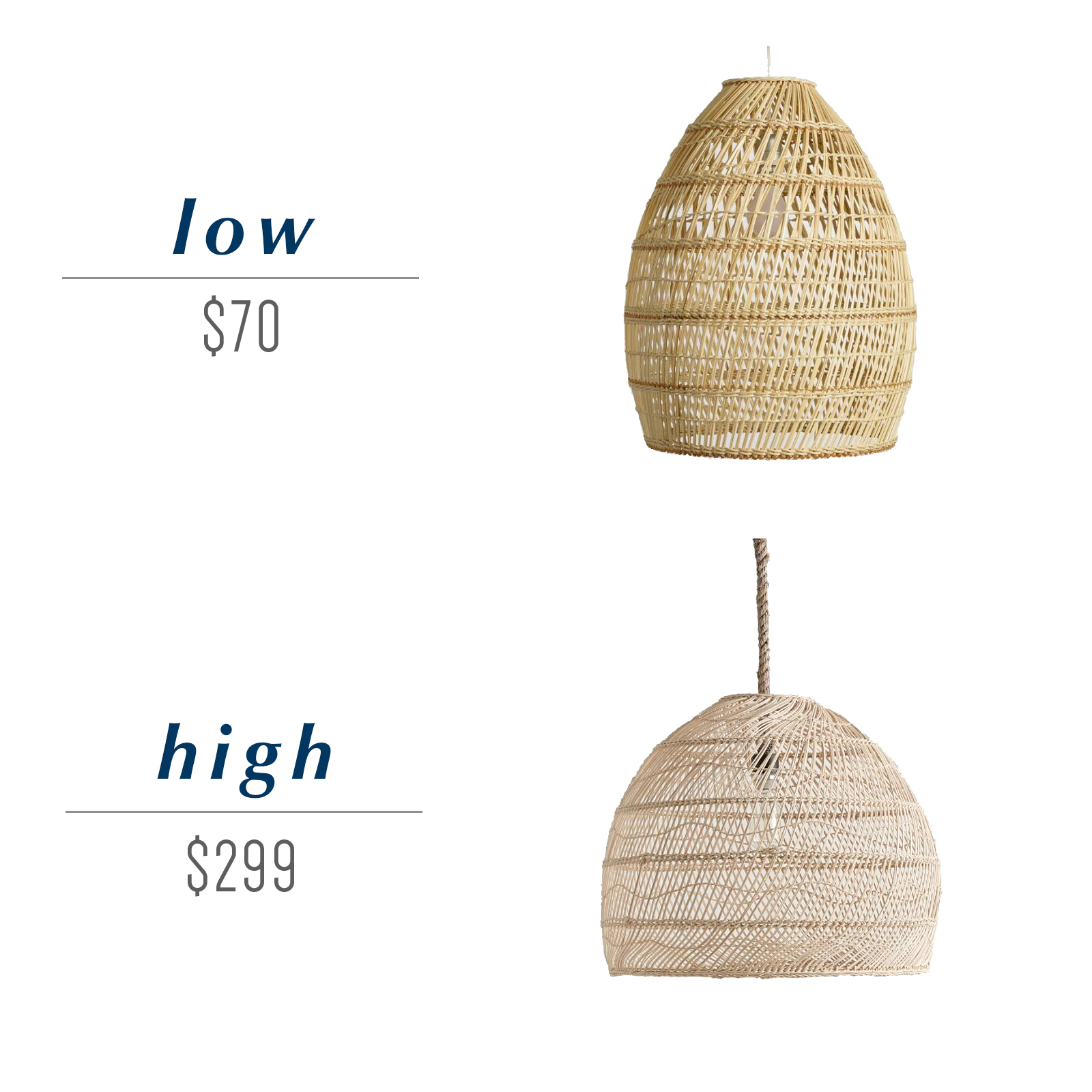 Get the look for less or decide to splurge! Come see the budget-friendly and spend-worthy pieces of furniture in this blog post including the high/low sources for this rattan pendant light. #coastaldecor #coastalhome