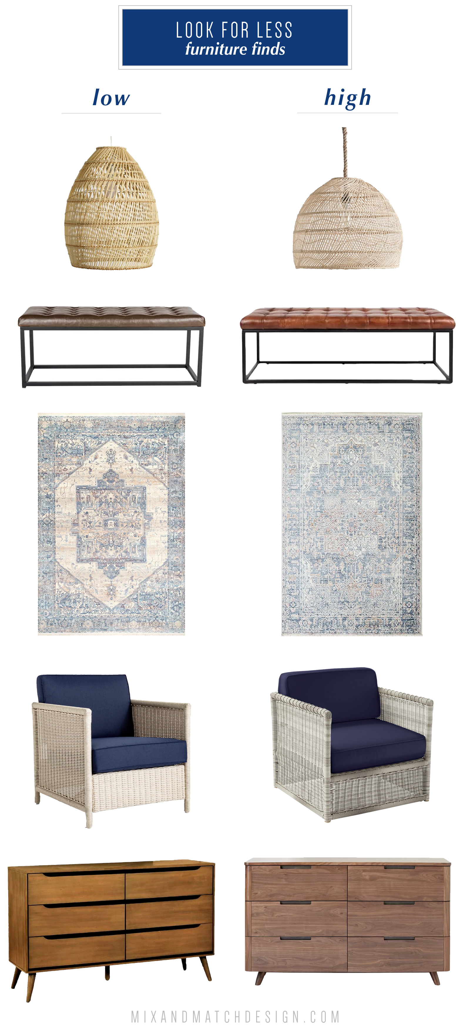 Get the look for less or decide to splurge! Come see the budget-friendly and spend-worthy pieces of furniture in this blog post including the high/low sources for a rattan pendant light, tufted leather bench, blue and ivory persian-style rug, light wicker patio lounge chair, and mid-century dresser!