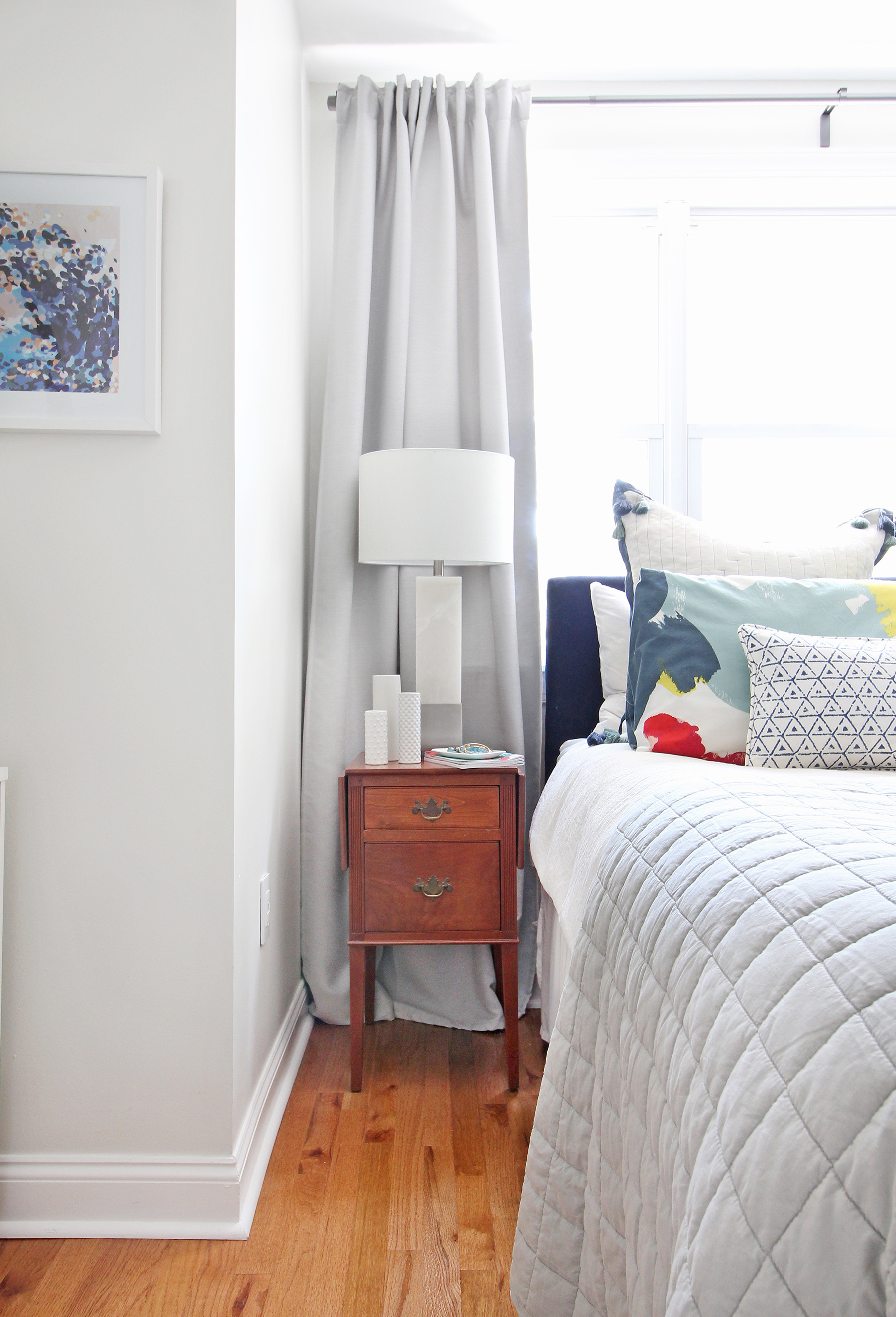 A 1930s row home in Philadelphia gets a big makeover. Come see the before and after of this home's bedrooms, small bathroom, and office/nursery nook. Get ideas for small space city living! Chaney's style is mid-century modern meets traditional that makes for an eclectic, cozy space.
