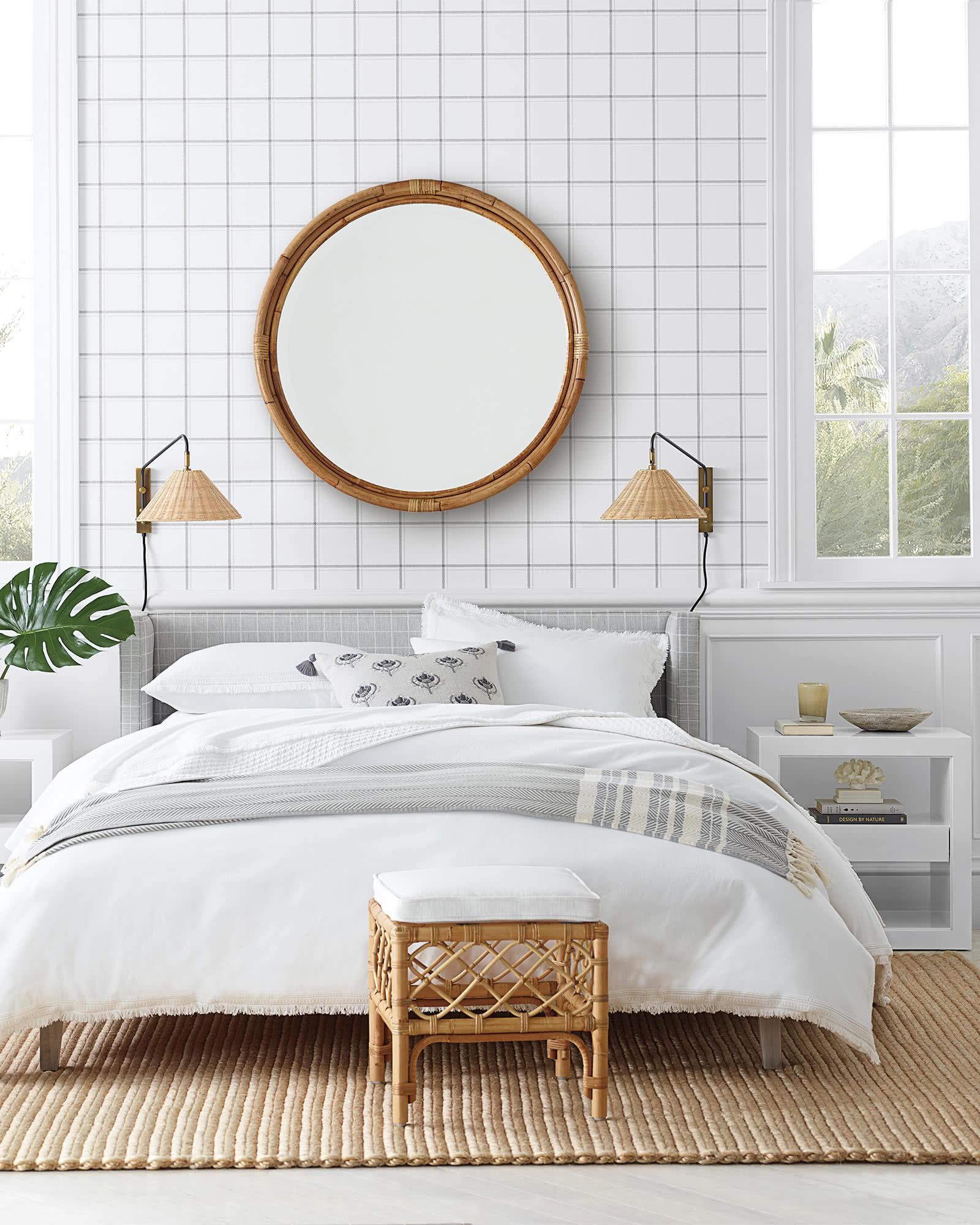 Rattan Sconce in Coastal Modern Bedroom.jpg