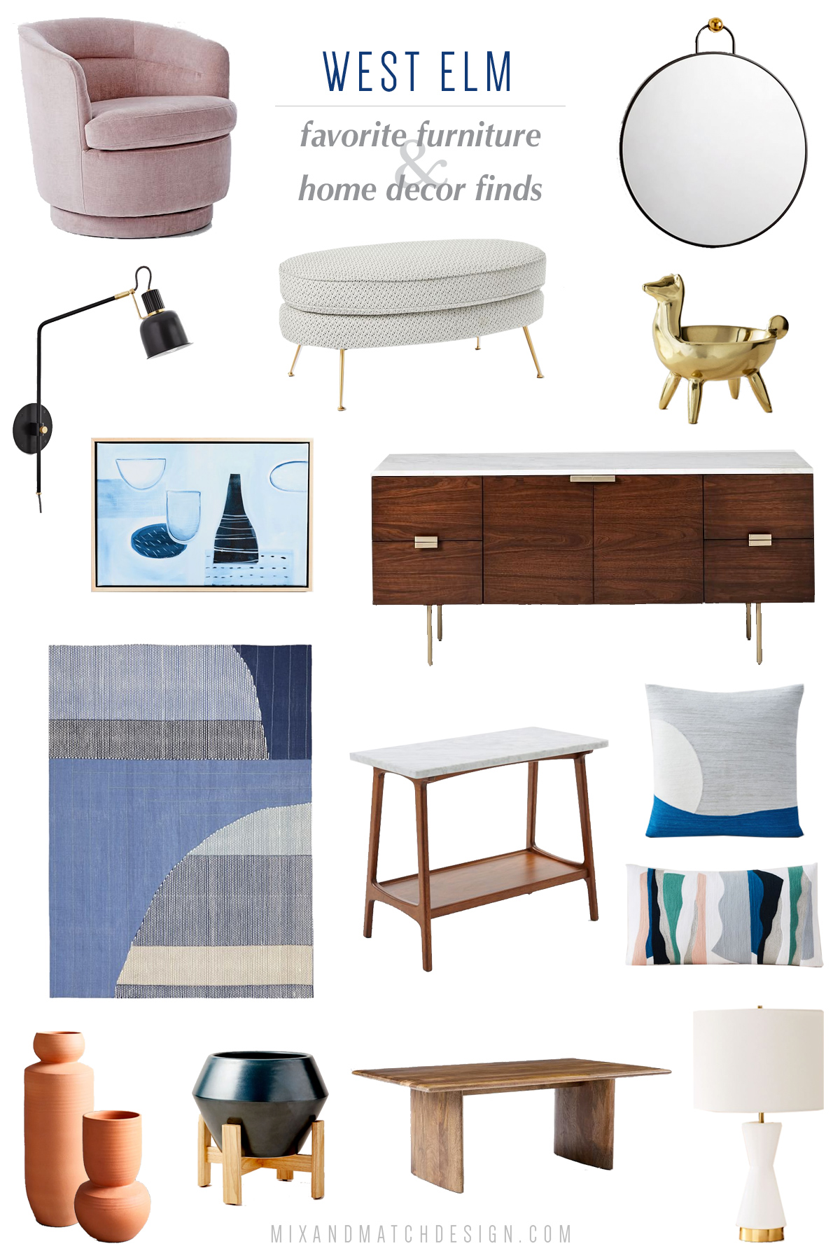 West Elm is one of my go-to places for affordable mid-century and modern furniture. They have a great selection of pieces for your living room, dining room, bedroom, and more! Come see my favorites on the blog.