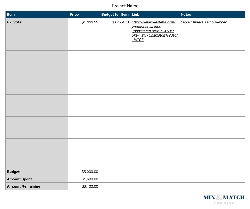 Need help budgeting for your next decorating project? Grab this planning spreadsheet and learn my methods over on the blog. I've worked with hundreds of clients and have a system down pat!