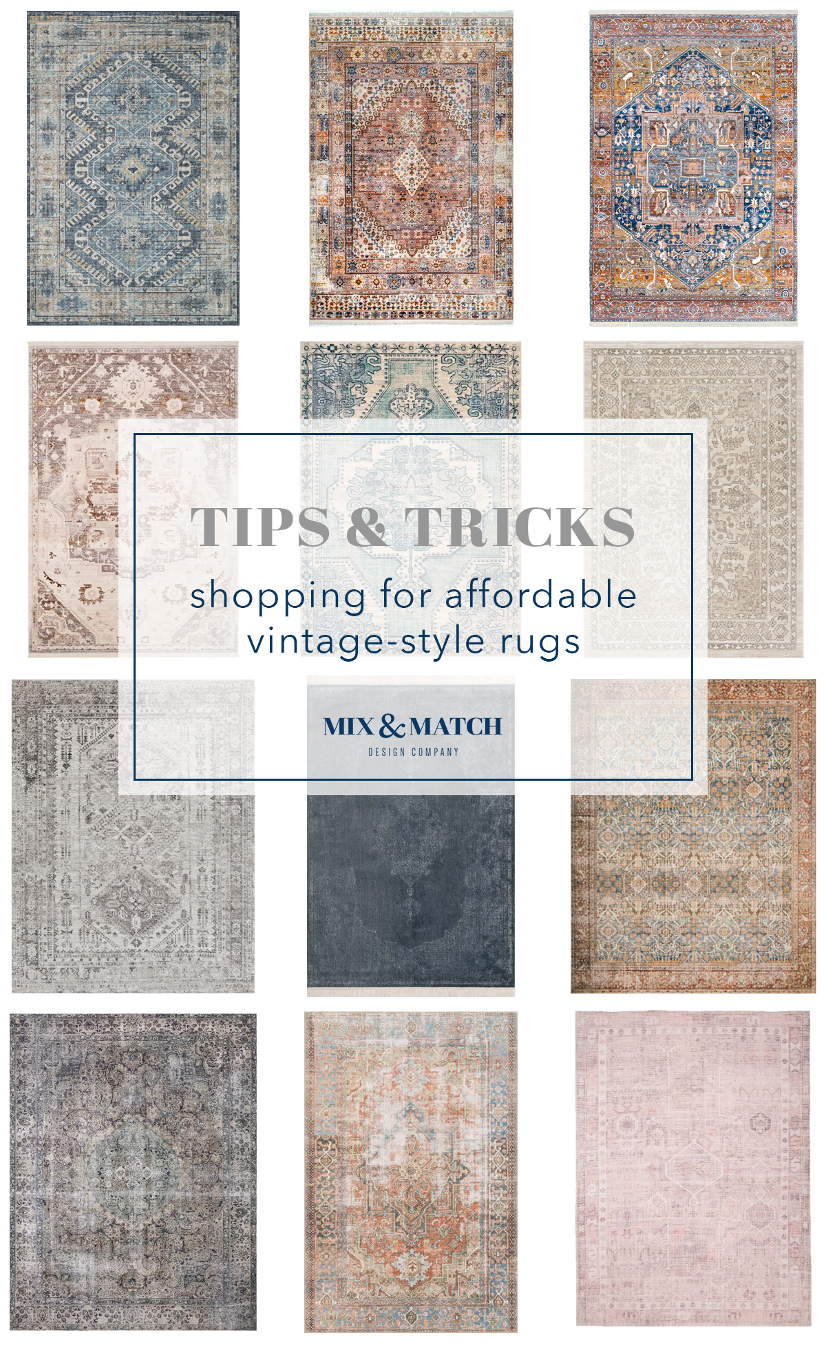 Find tips for shopping affordable vintage-style rugs and get the sources for these!