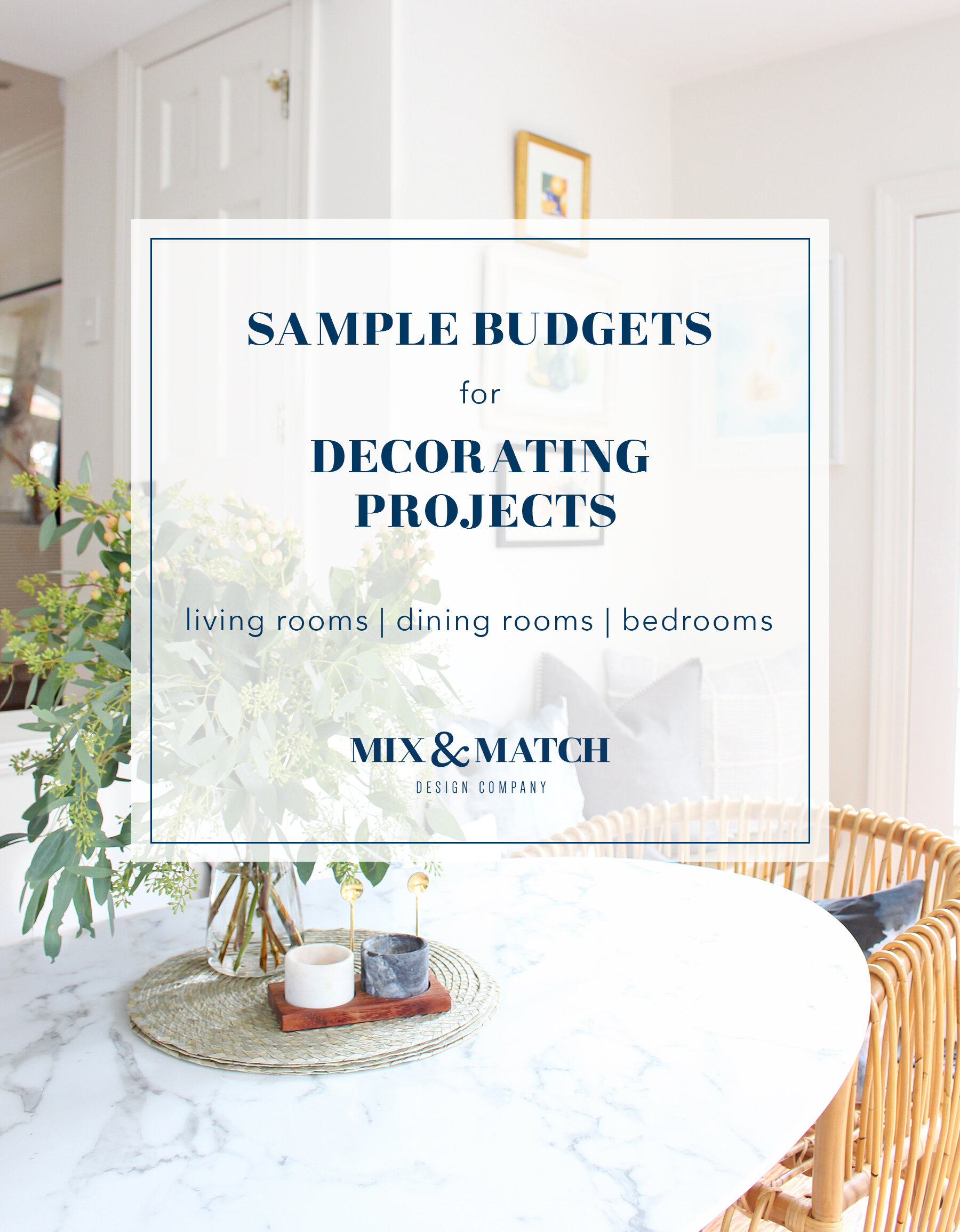 Though it might not be the most fun part, coming up with a budget for your decorating project is a key part of making it a successful one! Head to the blog to find sample budgets for living room, dining room, and bedroom projects at two different price points. I've also got a free budgeting spreadsheet for you to download for your next project!