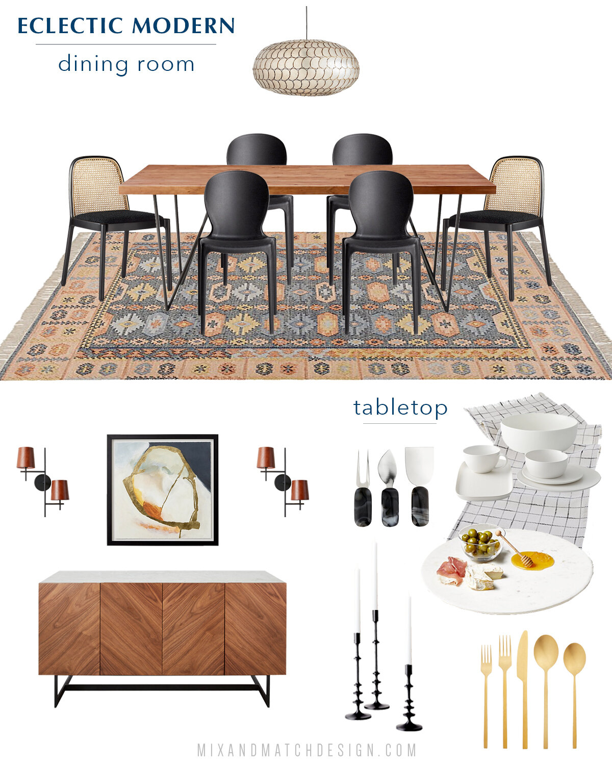 It's time for another Shop the Design! This time, it's an eclectic modern dining room from CB2. With the holiday hosting season right around the corner, now is the perfect time to get that space pulled together!  Grab the sources for this dining room and hear my thoughts behind the design over on the blog!