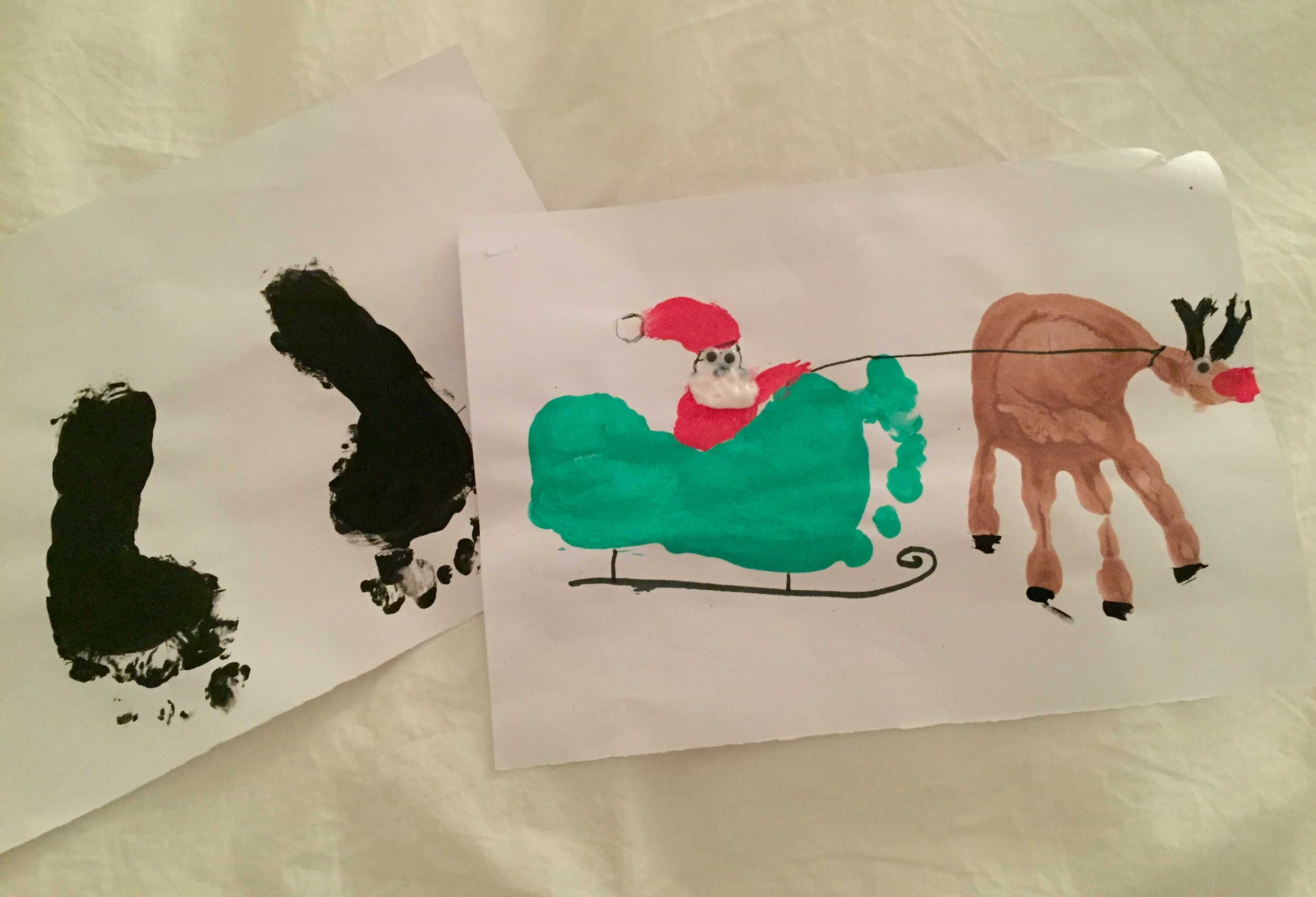 EDIE'S (WITH A LITTLE HELP) POTENTIAL CHRISTMAS CARDS... (THE BLACK FEET WILL BECOME PENGUINS)