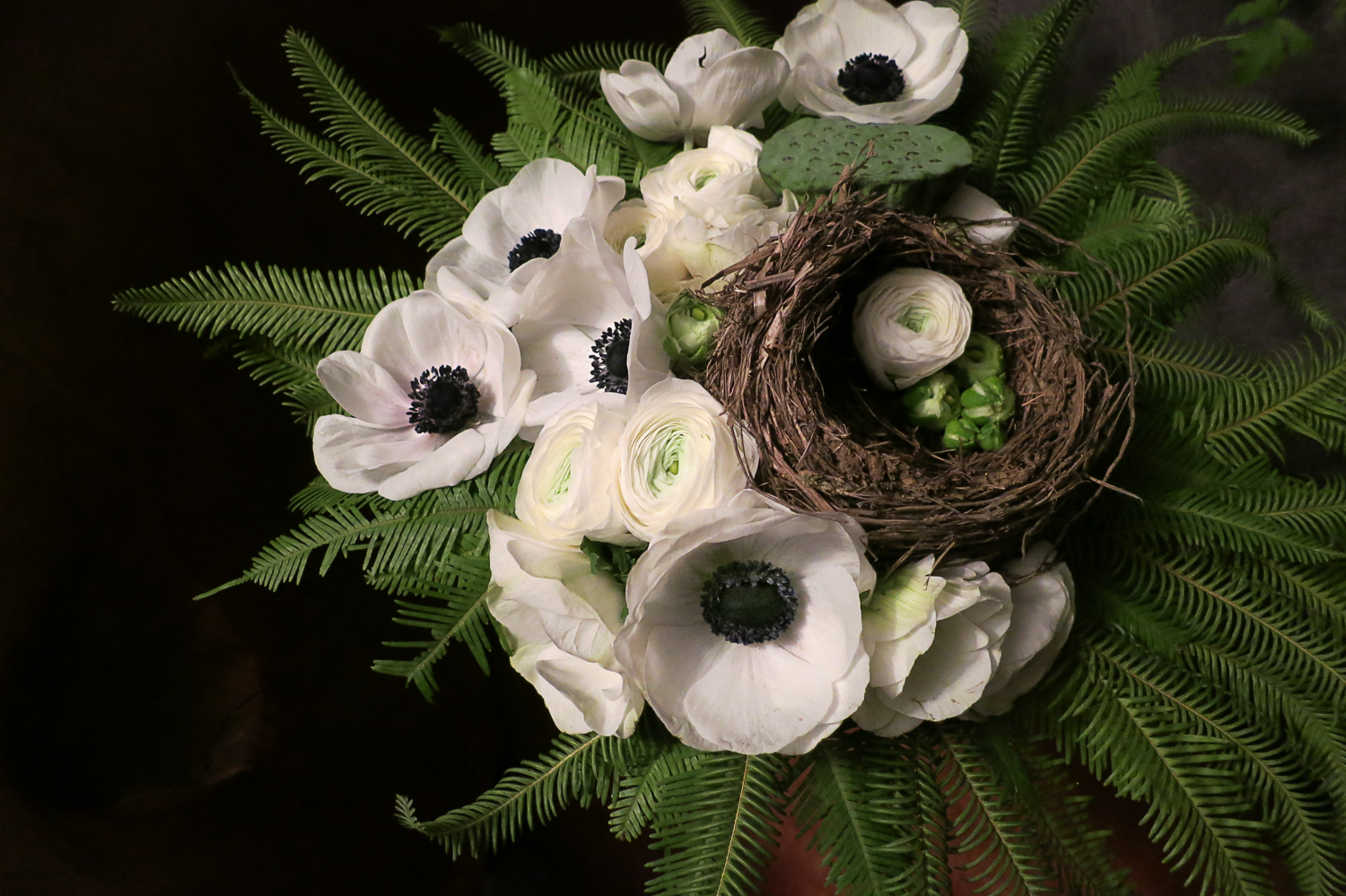 """In the Nest"" Anemone, Lotus Pod, Ranunculus, by Pebble and Branch Floral"