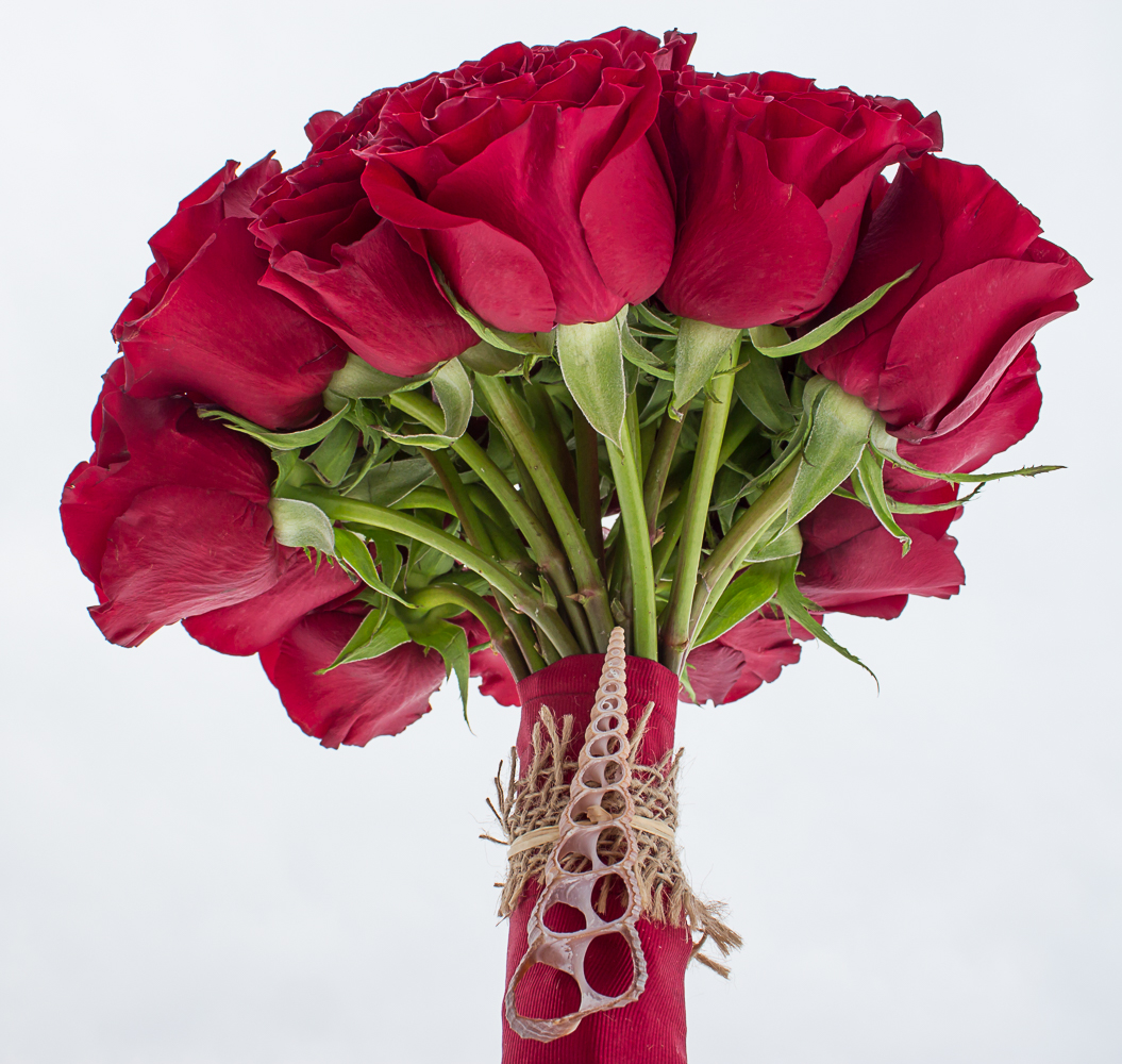 Red Rose and Sea Shell Bridal Bouquet
