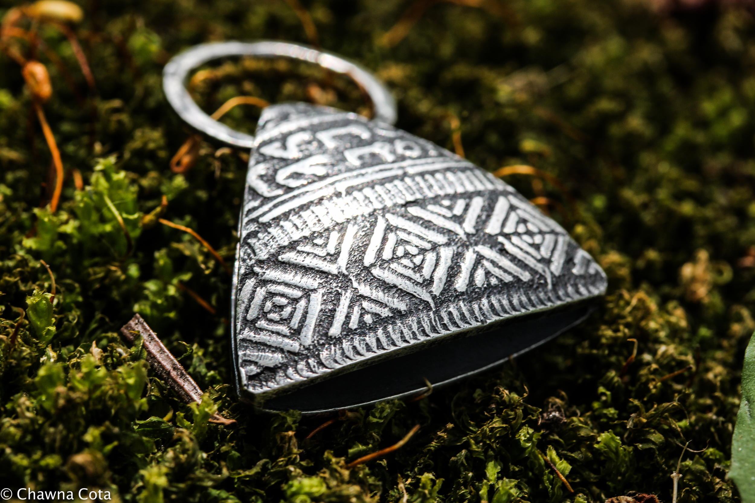 Front of Hollow Form Triangle Pendant