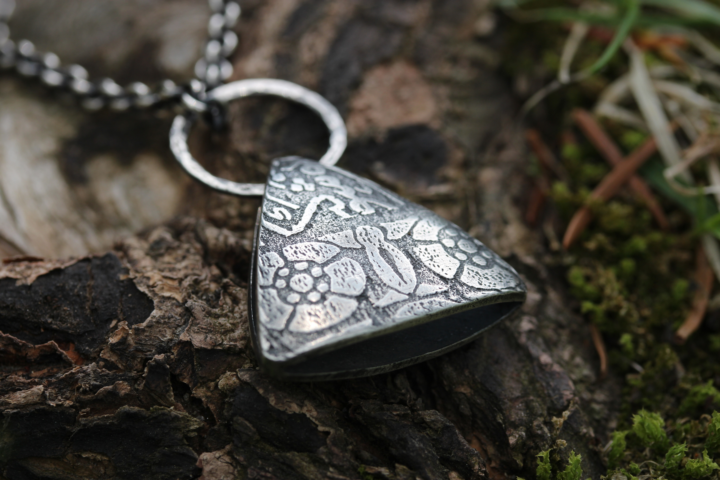 Back of Hollow Form Triangle Pendant