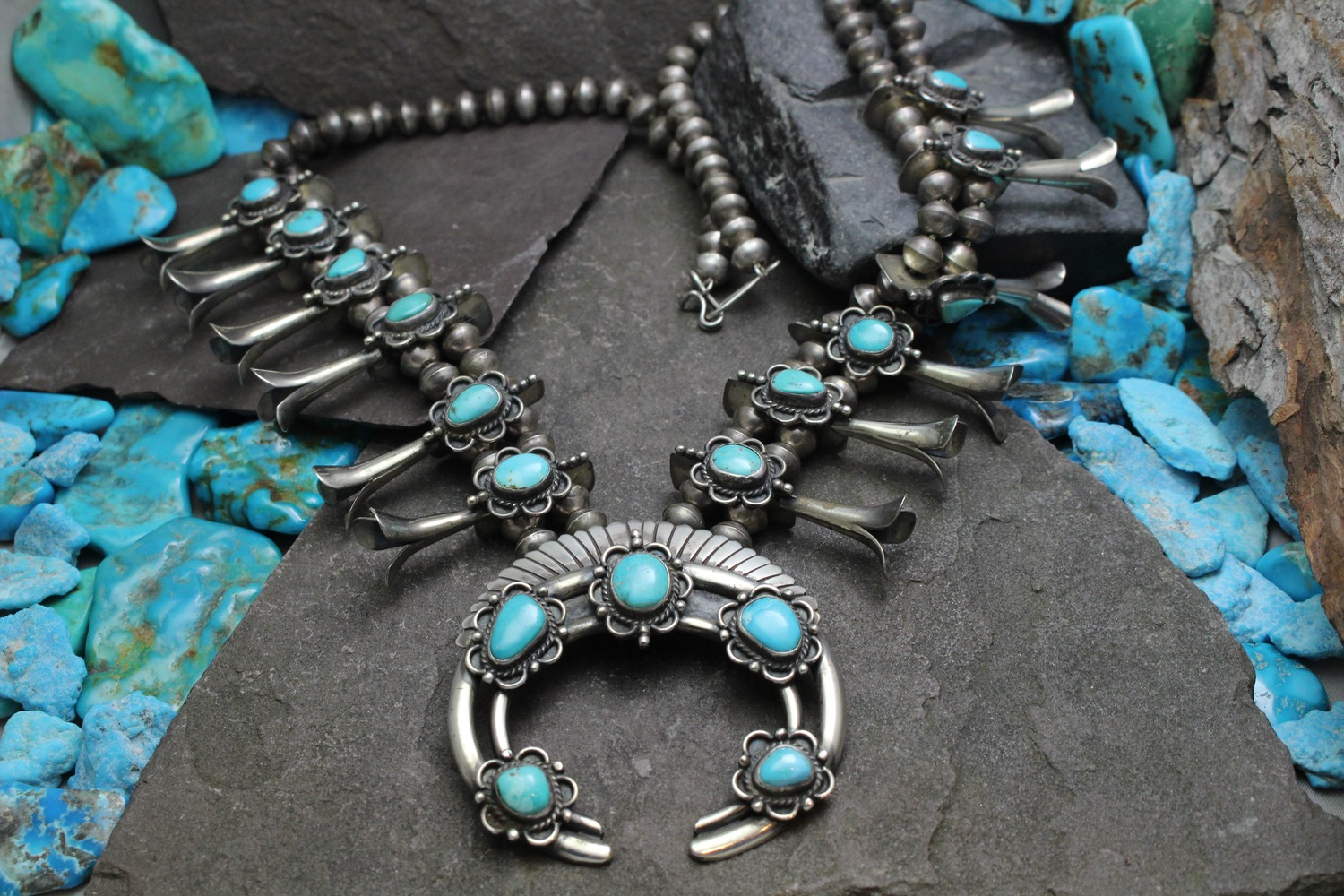 Turquoise Vintage Squash Blossom Necklace Photo for Global Pathways Jewelry