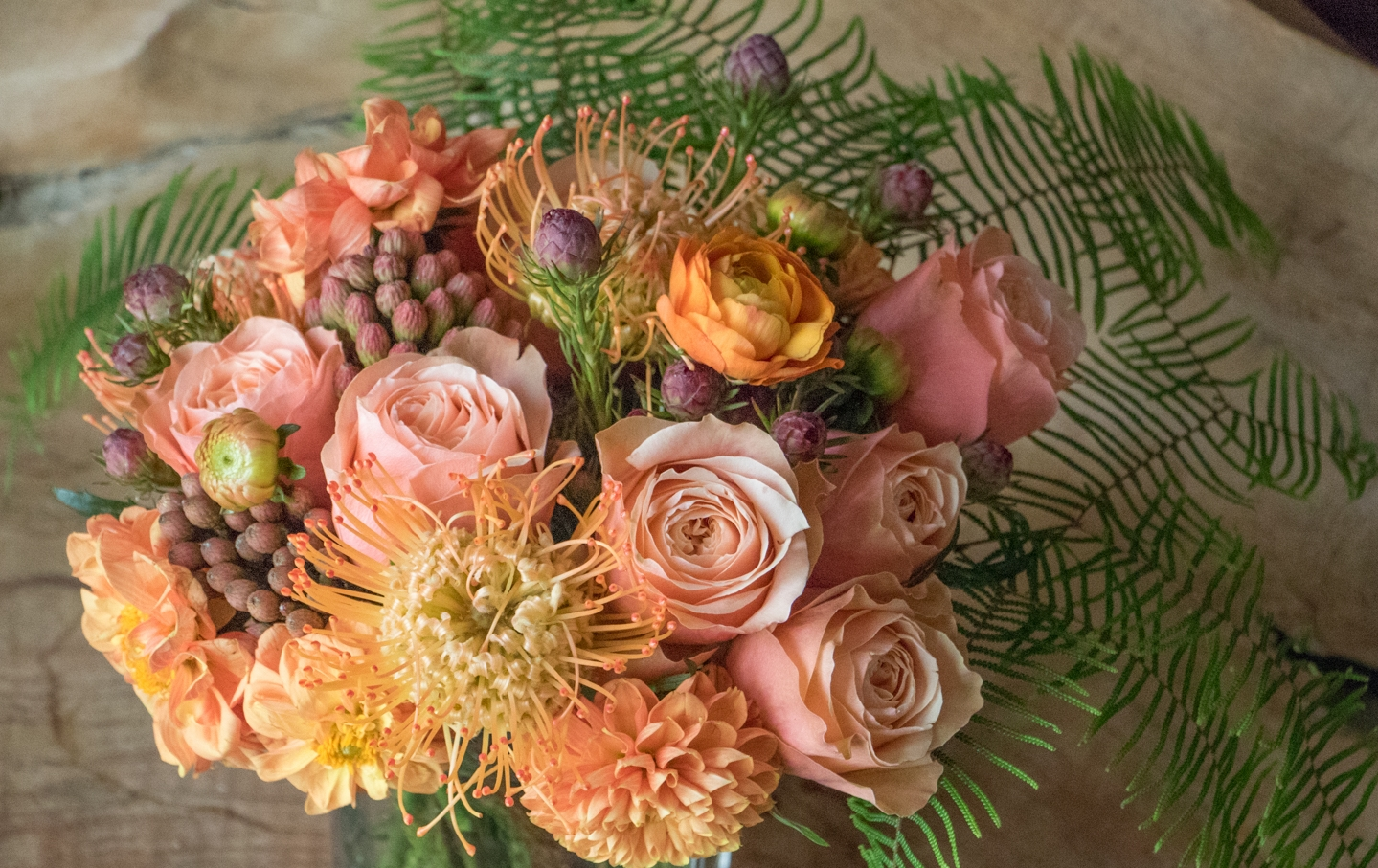 Peach and Orange Bridal Bouquet with Dahilas and Pinchusion