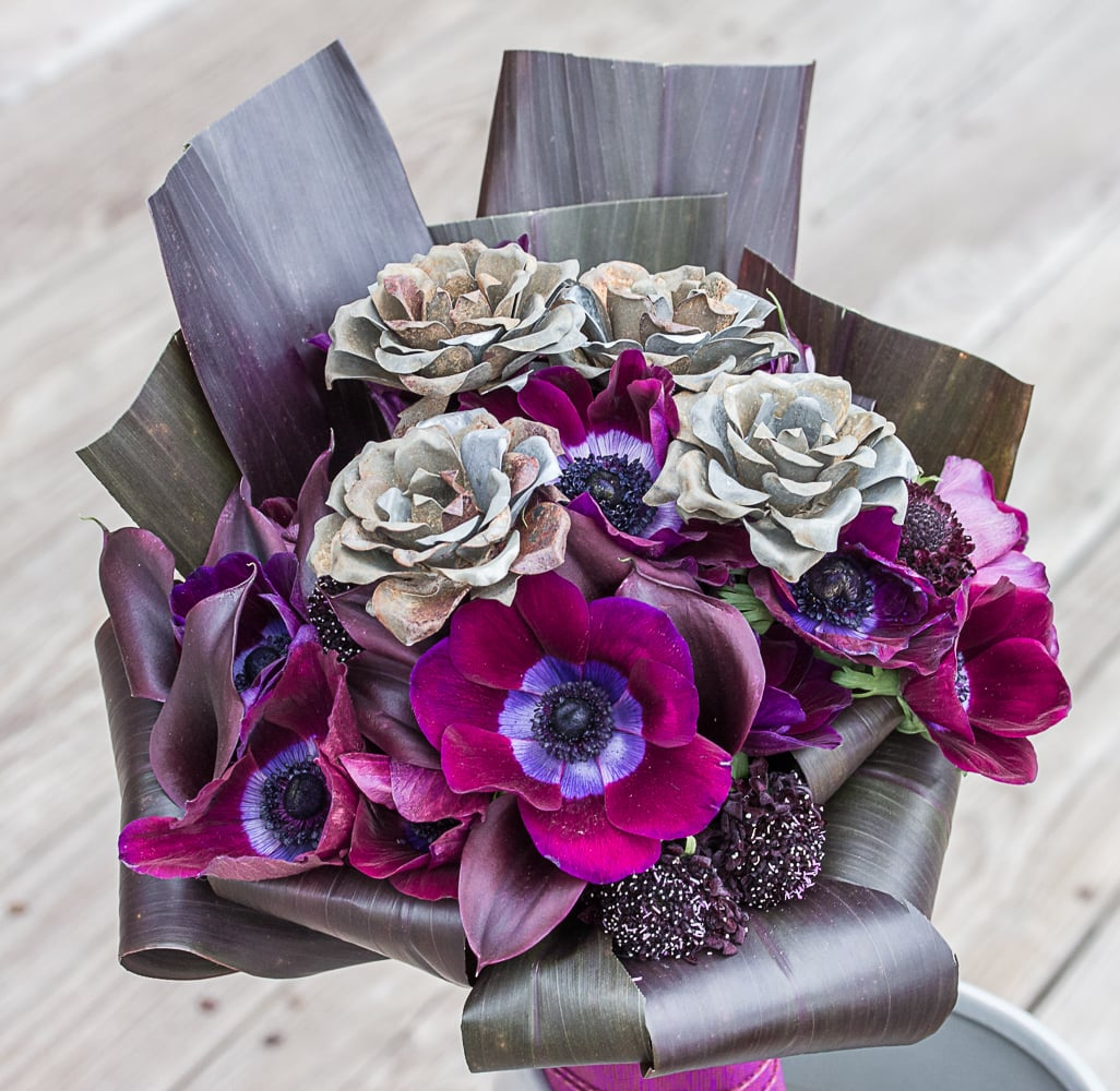 """That's So Metal"" Bridal Bouquet with Rusty Metal Roses, Anemone, Scabiosa, Banana Leaf"