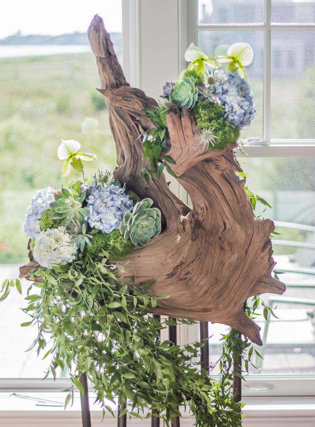 Cedar Sculpture with Hydrangea, Succulents, Orchids by Pebble and Branch Floral Design