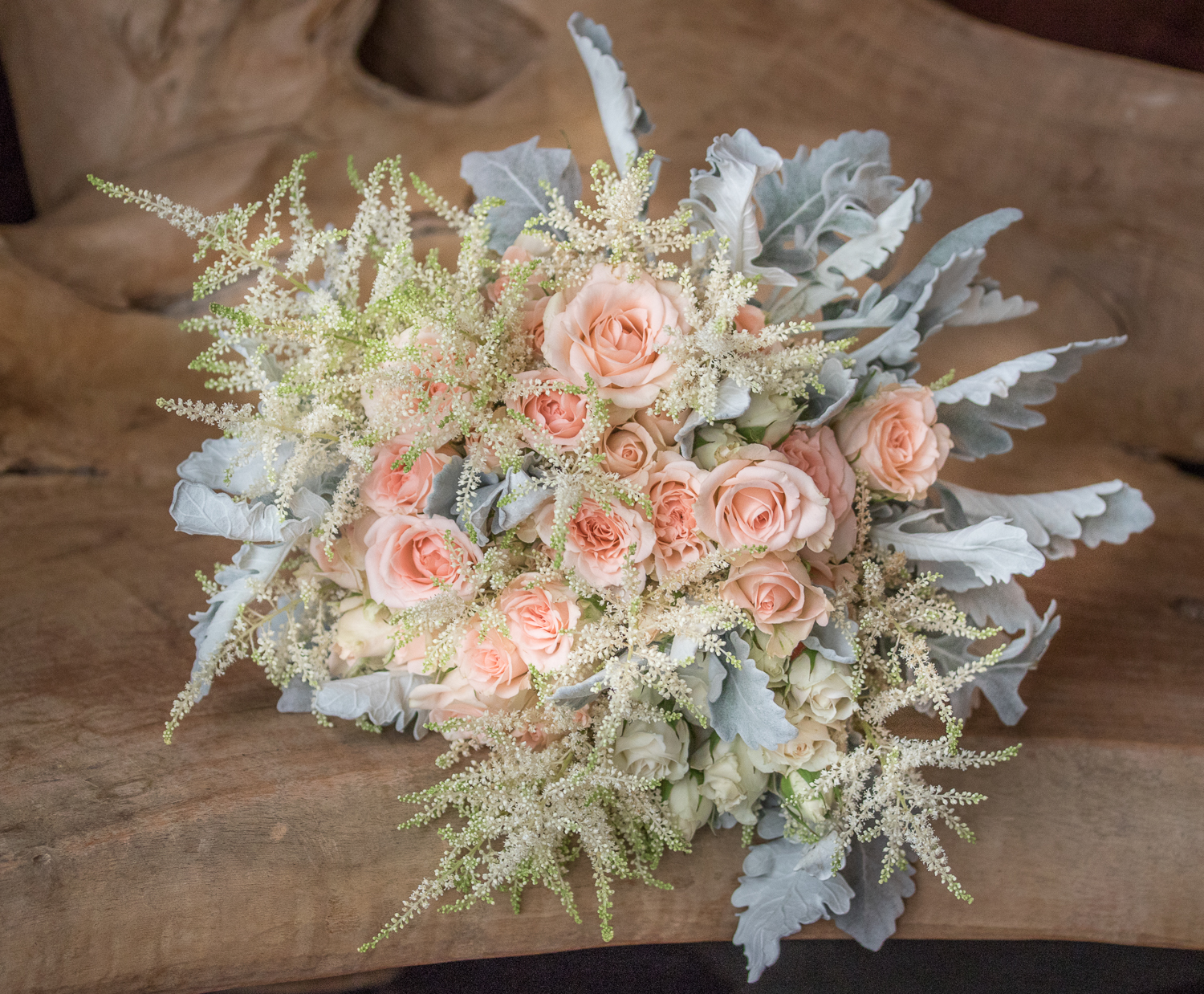 Spray Rose Dusty Miller Astilbe bouqet.jpg