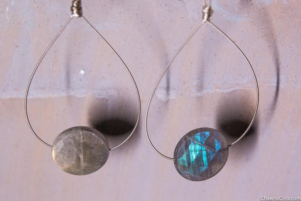 Upcycled Guitar String Labradorite Earrings