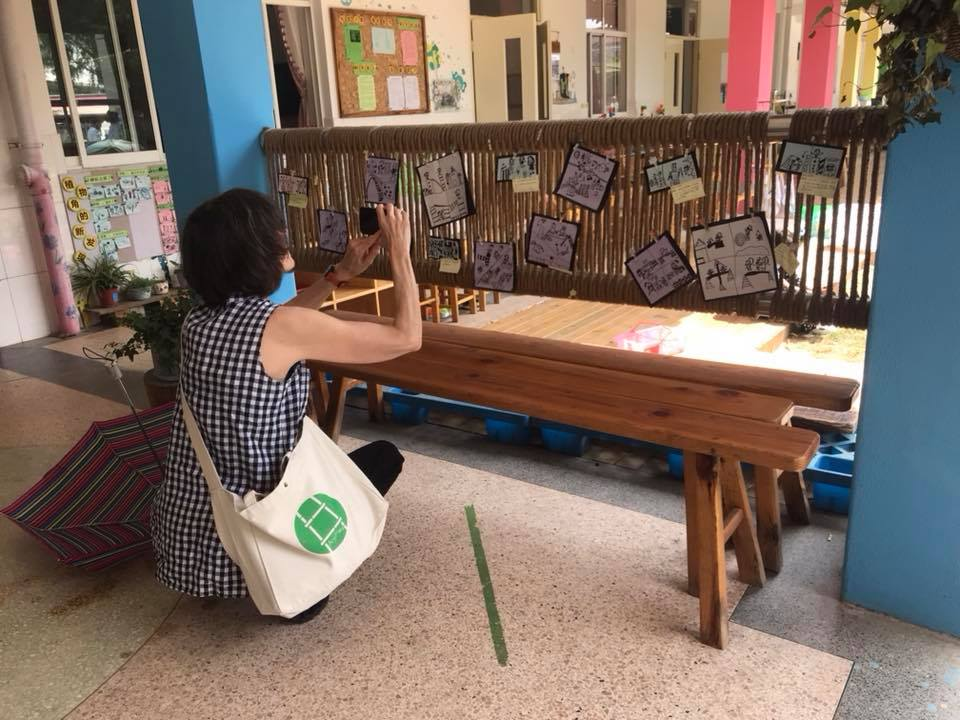 Educational Policy Analyst Susan Ochshorn documenting Play Stories at Zimei Kindergarten, Anji.