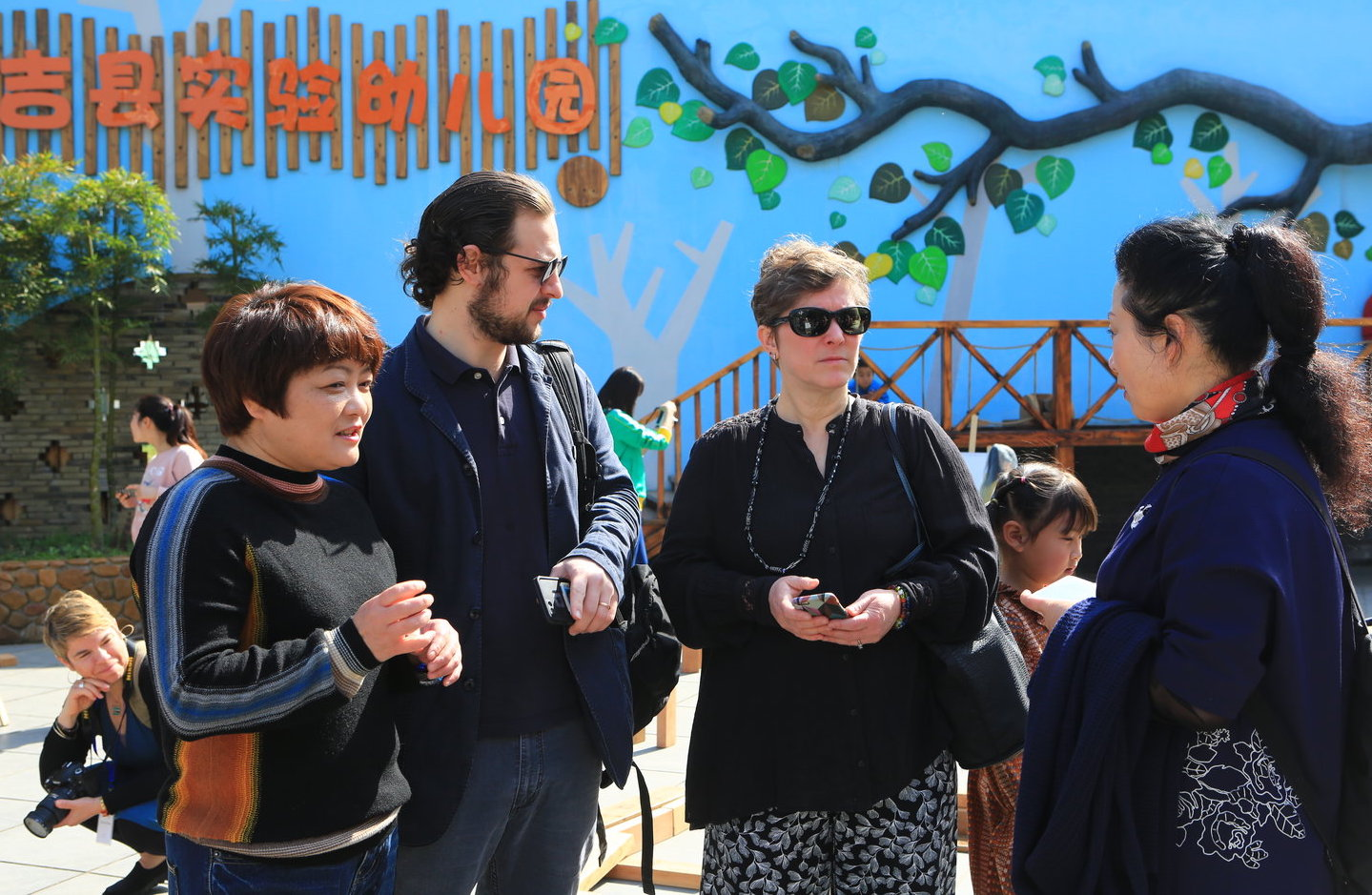 Dr. Bailey discussing the True Play Revolution with Ms. Cheng, Principal Zhangjie and Jesse Coffino at Experimental Kindergarten, Anji.