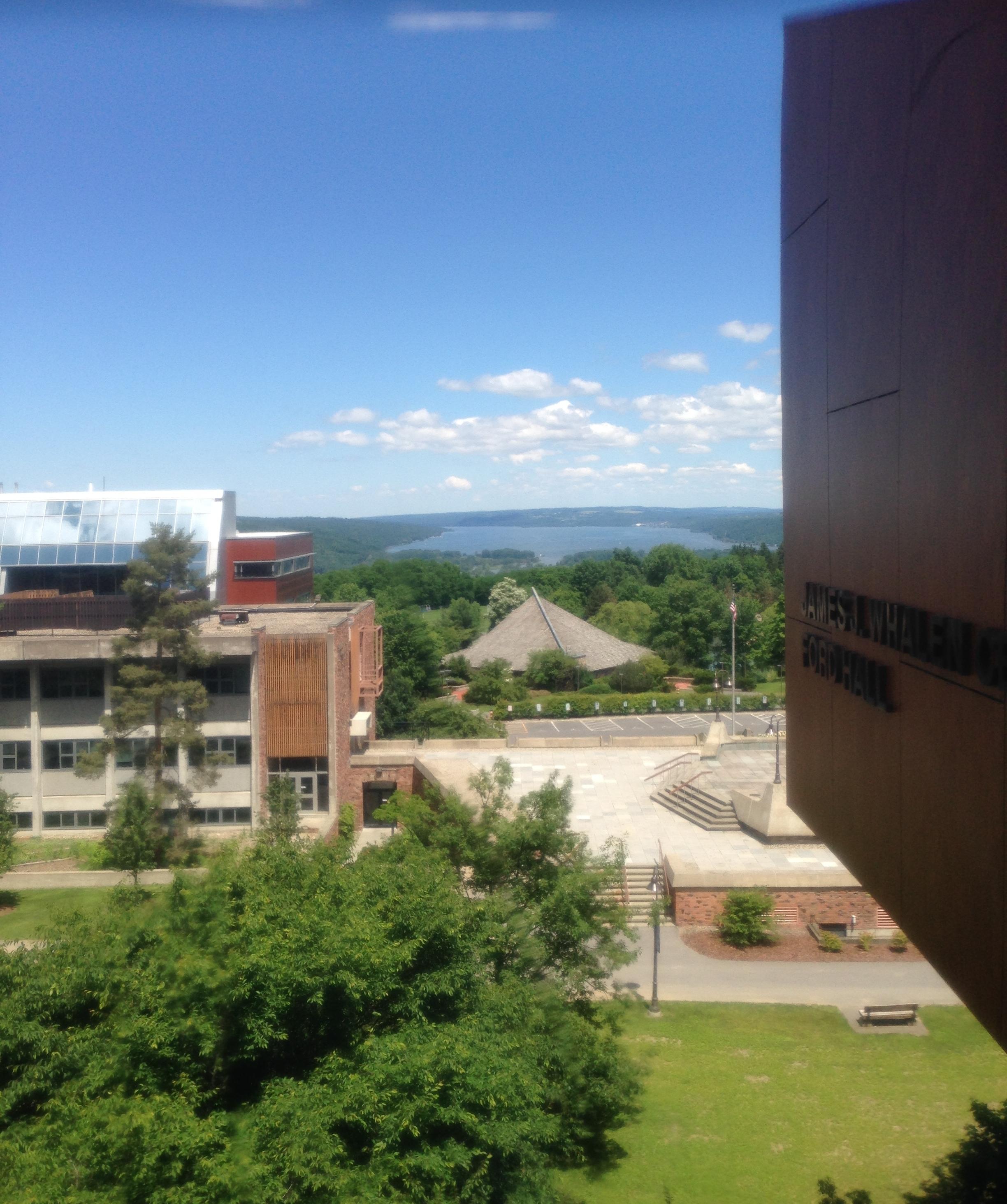 Ithaca College campus + Lake Cayuga