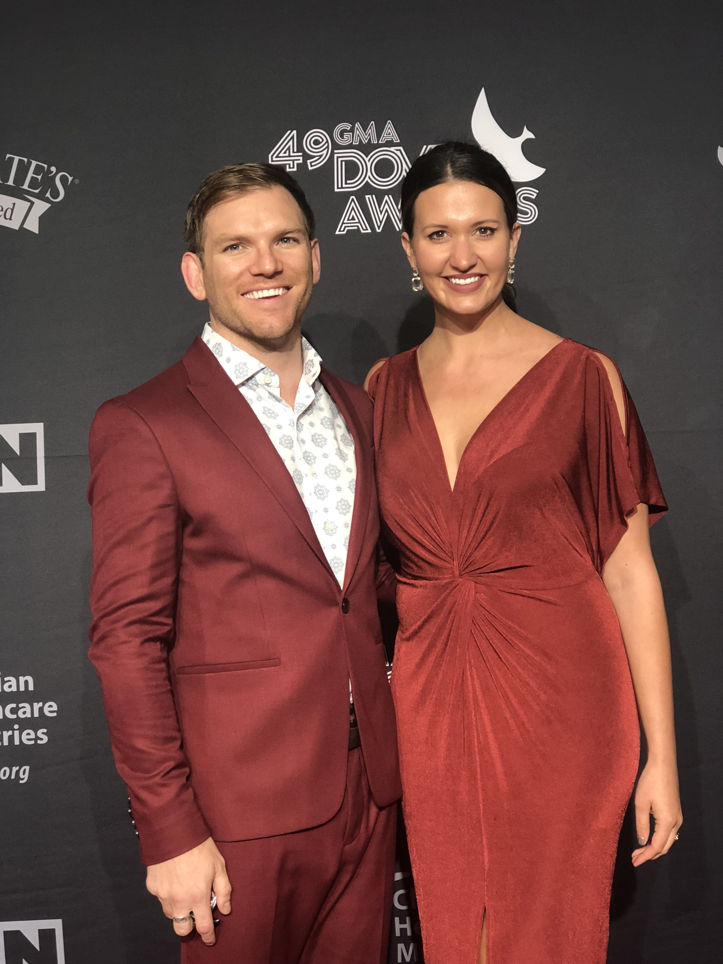 Rick Seibold and Rachel Blankenship arrive at the 49th Annual Dove Awards