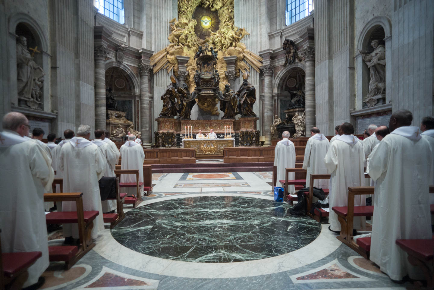 GC36 Mass at the Vatican in the chapel of the Cathedra or chair. Celebrant is Bienvenido F. Nebres, SJ, of the Philippines, accompanited by Fr. James Grummer, SJ.