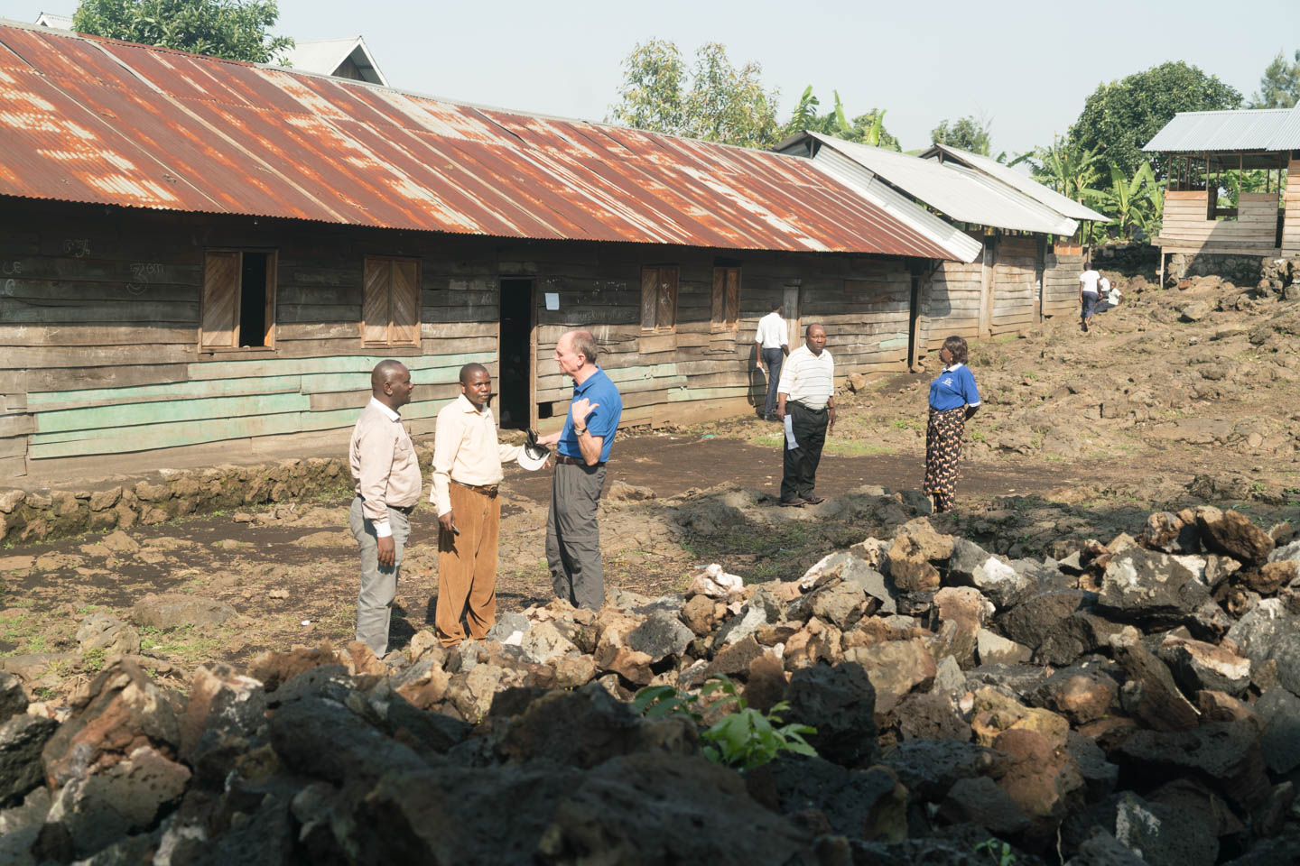 The stone has arrived for a school that JRS is building between two camps of Internally Displaced Persons.