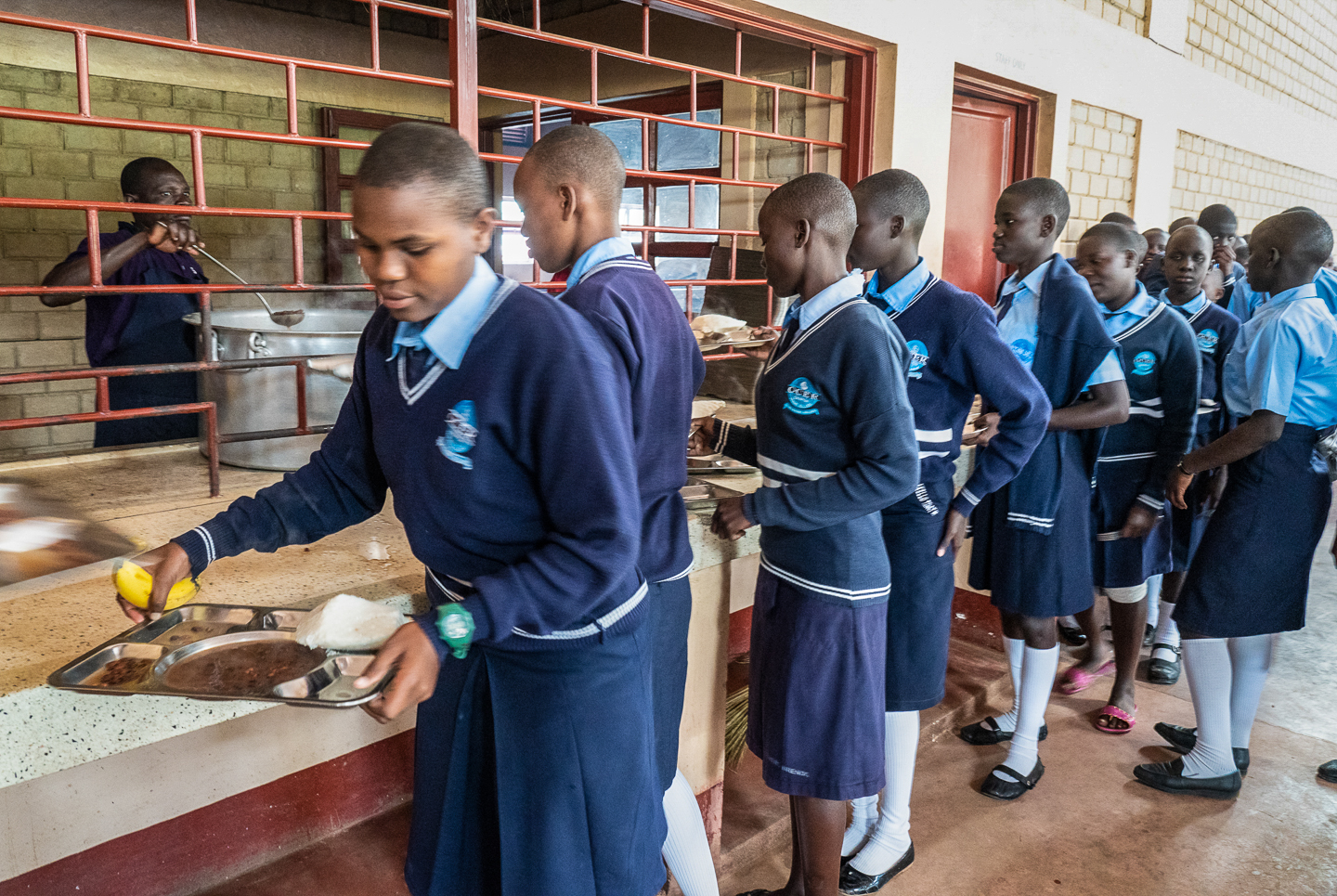 Seven hundred students receive three meals a day.