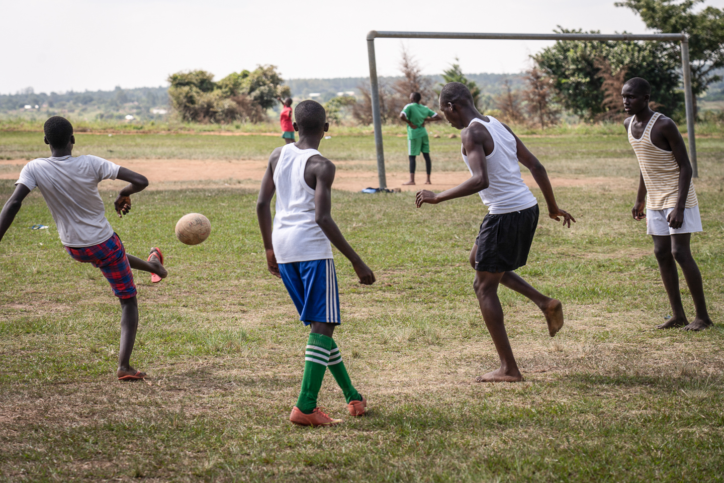 A pick-up soccer game after school.