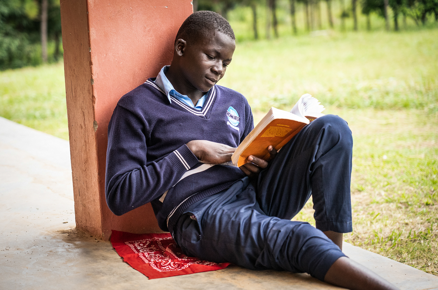 With the day off due to elections, a student catches up with his studies.