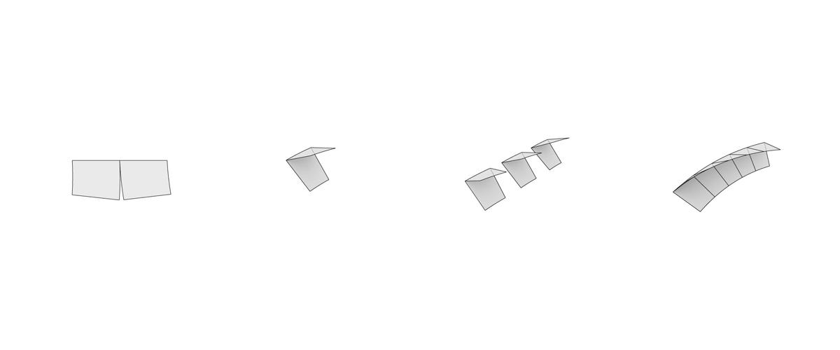 1. Unfolded steel sheet 2. Folded element 3. Identical stackable elements 4. Assemblage creates twist