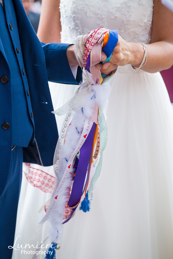 A colourful hand fasting ceremony