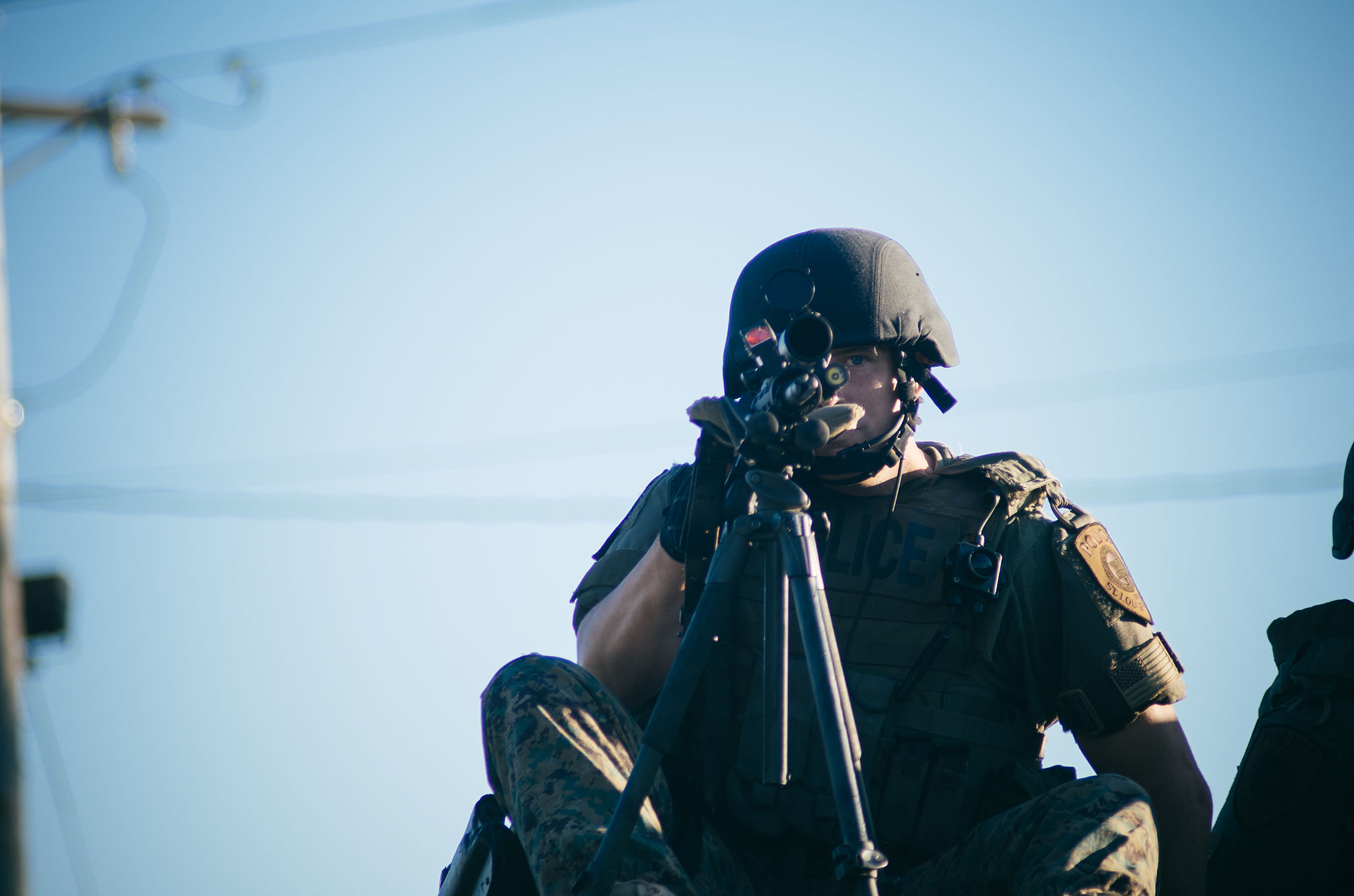 Sharpshooter in Ferguson, August 13, 2014 (photo by Jamelle Bouie)