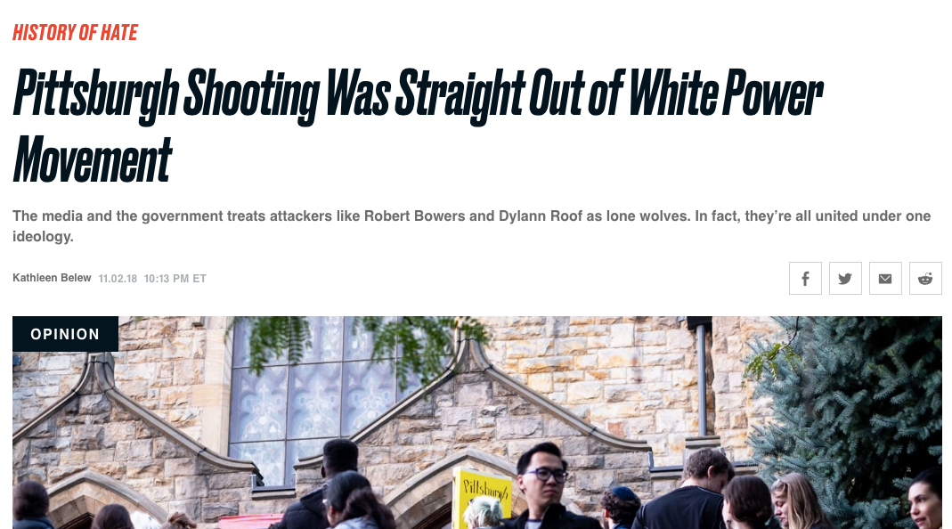 "Daily Beast - ""Pittsburgh Shooting Was Straight Out of White Power Movement,"" November 2, 2018"