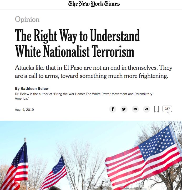 """New York Times - """"The Right Way to Understand White Nationalist Terrorism,"""" August 4, 2019"""