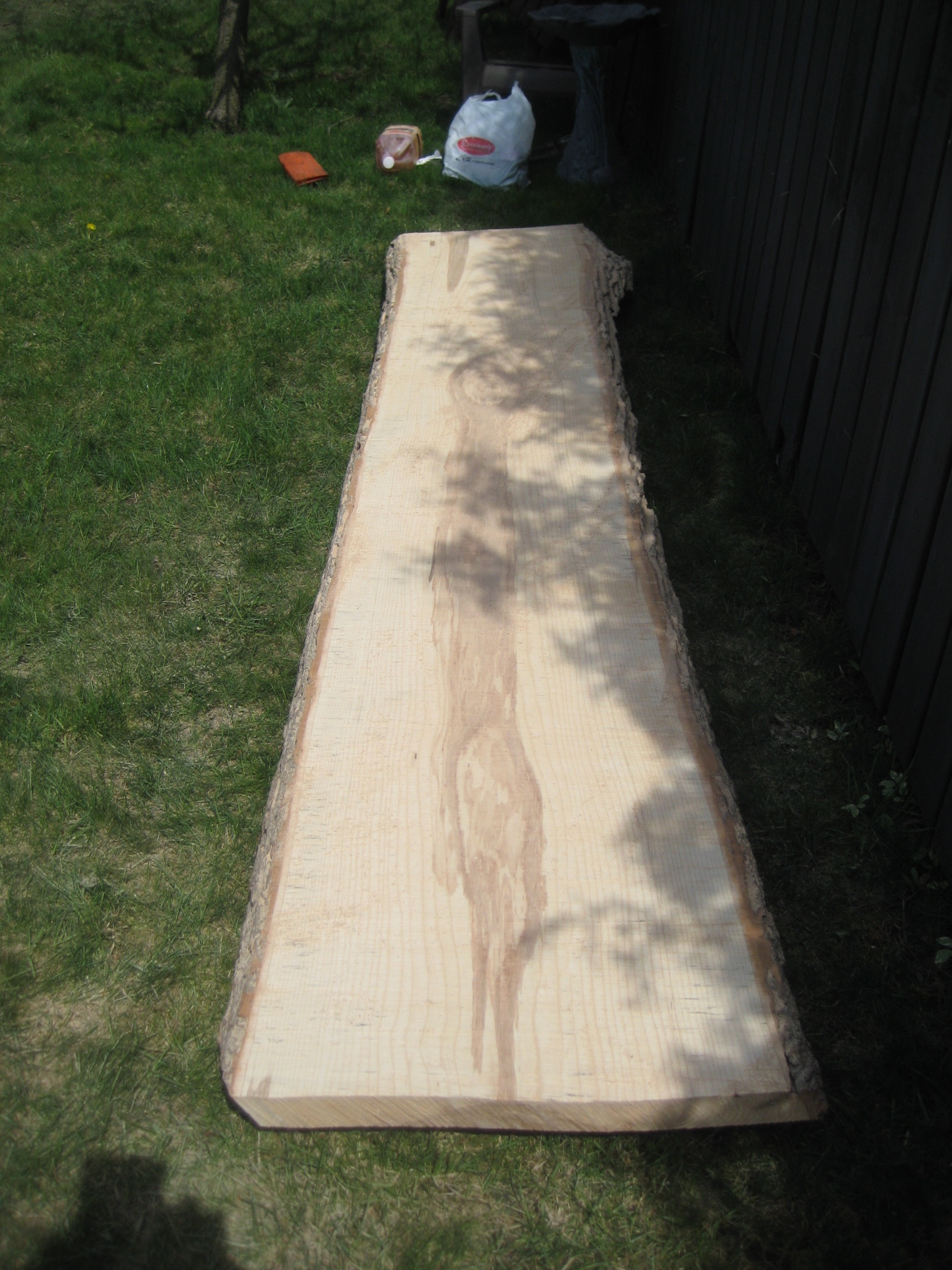 """Here is a 2"""" thick slab fresh off the tree :) You might be thinking """"ok so it was hard to cut, but now you have such a nice piece of wood ready to make into things!"""" but no. Next this slab has to dry. If it is left to dry naturally, it will take approximately 1 year/ inch to dry. So this 2"""" tree will take 2 years to dry.  You could also take the material to a kiln to have it dried rapidly, but that would make added cost for drying and transportation. Wu has a storage facility where he dries his planks naturally. He's been at it for over 10 years, so many of his slabs are ready to work with."""