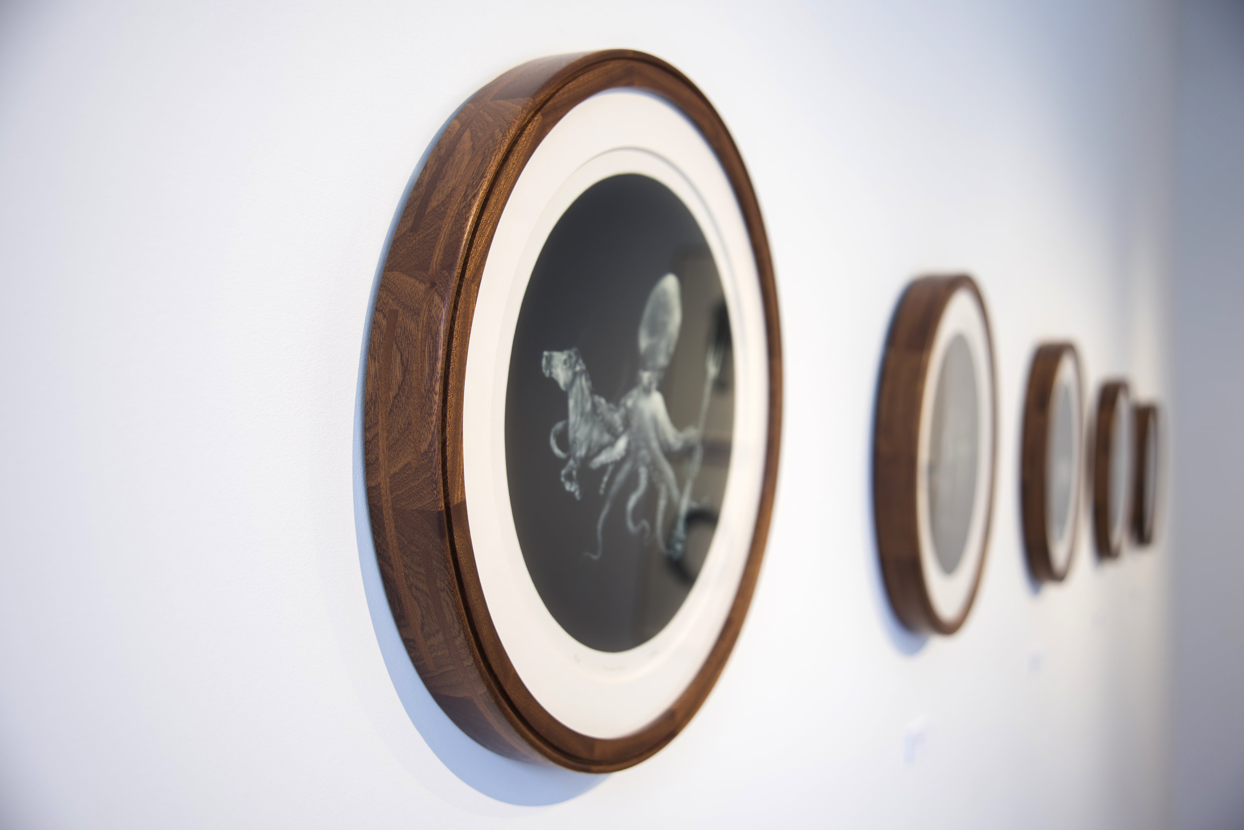 Custom Sapele frames for mezzotint prints by artist  Laine Groeneweg