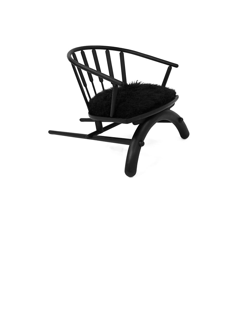 Rainbow Chair - Ash Wood Frame Chair with Mongolian Sheep Wool Seat