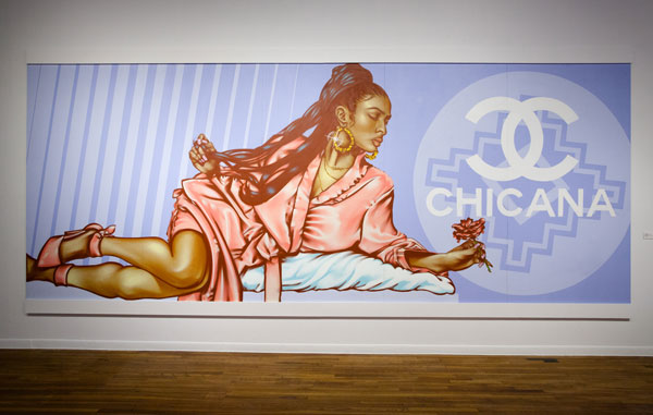 "Chris Montoya.  Hood Rich , 2016. Spray paint and acrylic on wood panel, 96"" x 240"". Photo by Essentials."