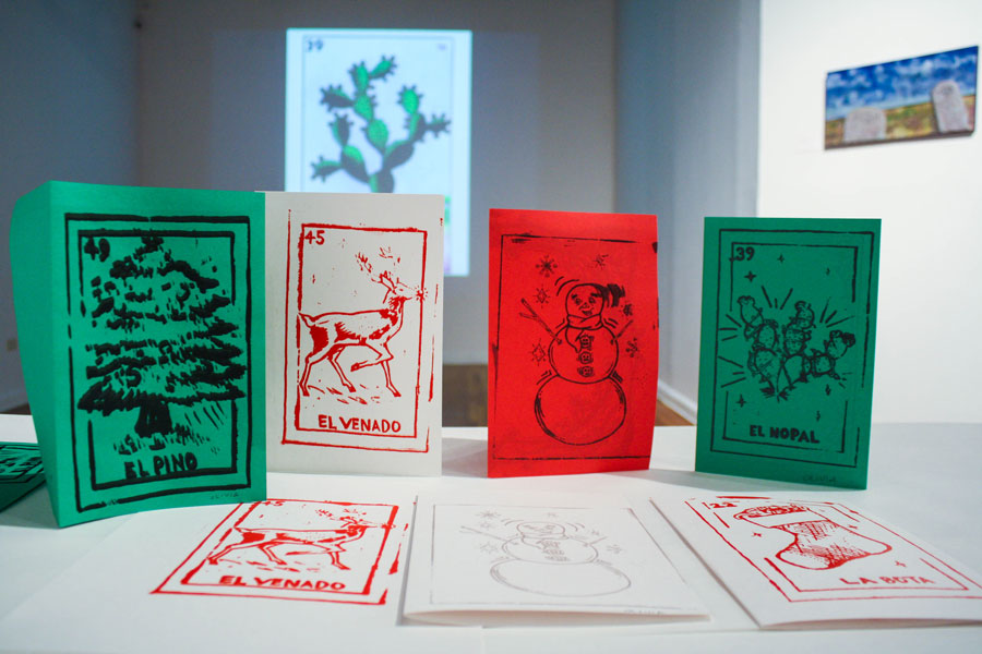Screen printed holiday cards at Mexic-Arte Museum, 2014. Photo by Adrian Orozco.