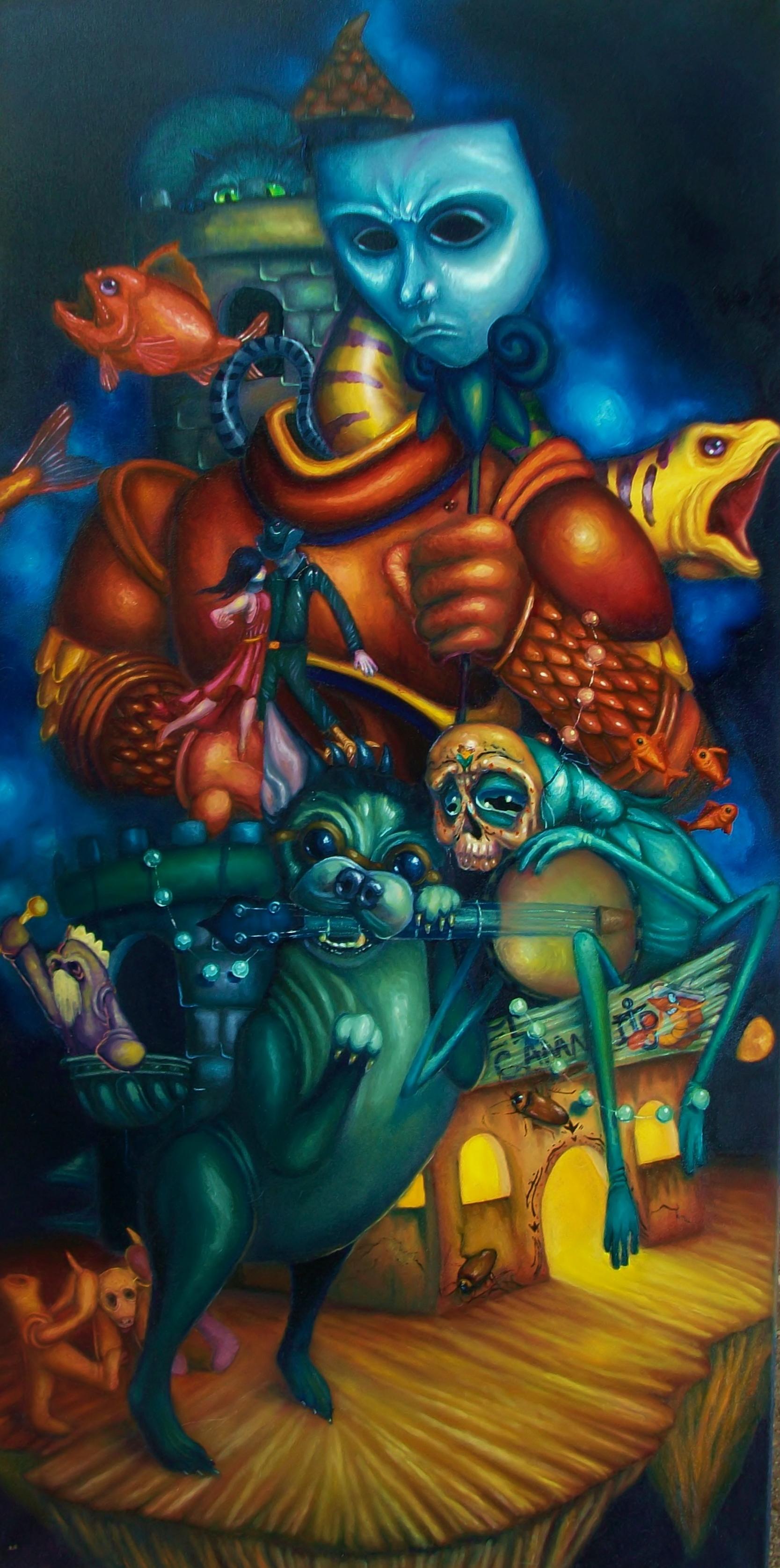 """Samuel Velasquez. The Mysterious Stranger (detail), 2014. Oil on canvas. 36"""" x 24"""""""