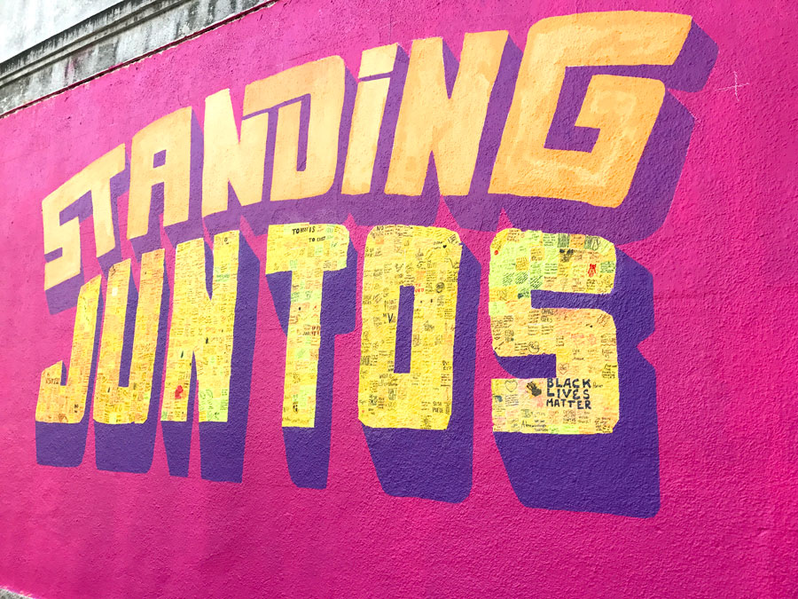 Standing Juntos  Standing Juntxs Collective, composed of Austinhuesca Collective, Bodega Visual, and Change the Rules December 2016 – Present Mexic-Arte Museum, 419 Congress Avenue