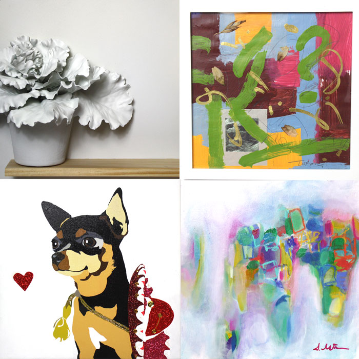 Clockwise from top left: Mery Godigna-Collet and Luis Gutierrez (detail), Jesus Toro Martinez, Stephanie Estrin, Julie Ahmad.