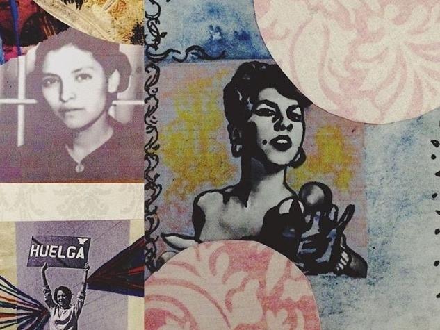 Detail of Stephanie Sandoval's  Radical Latinas: Emma Tenayuca, Dolores Huerta and Carmelita Tropicana,  mixed media, 2016.