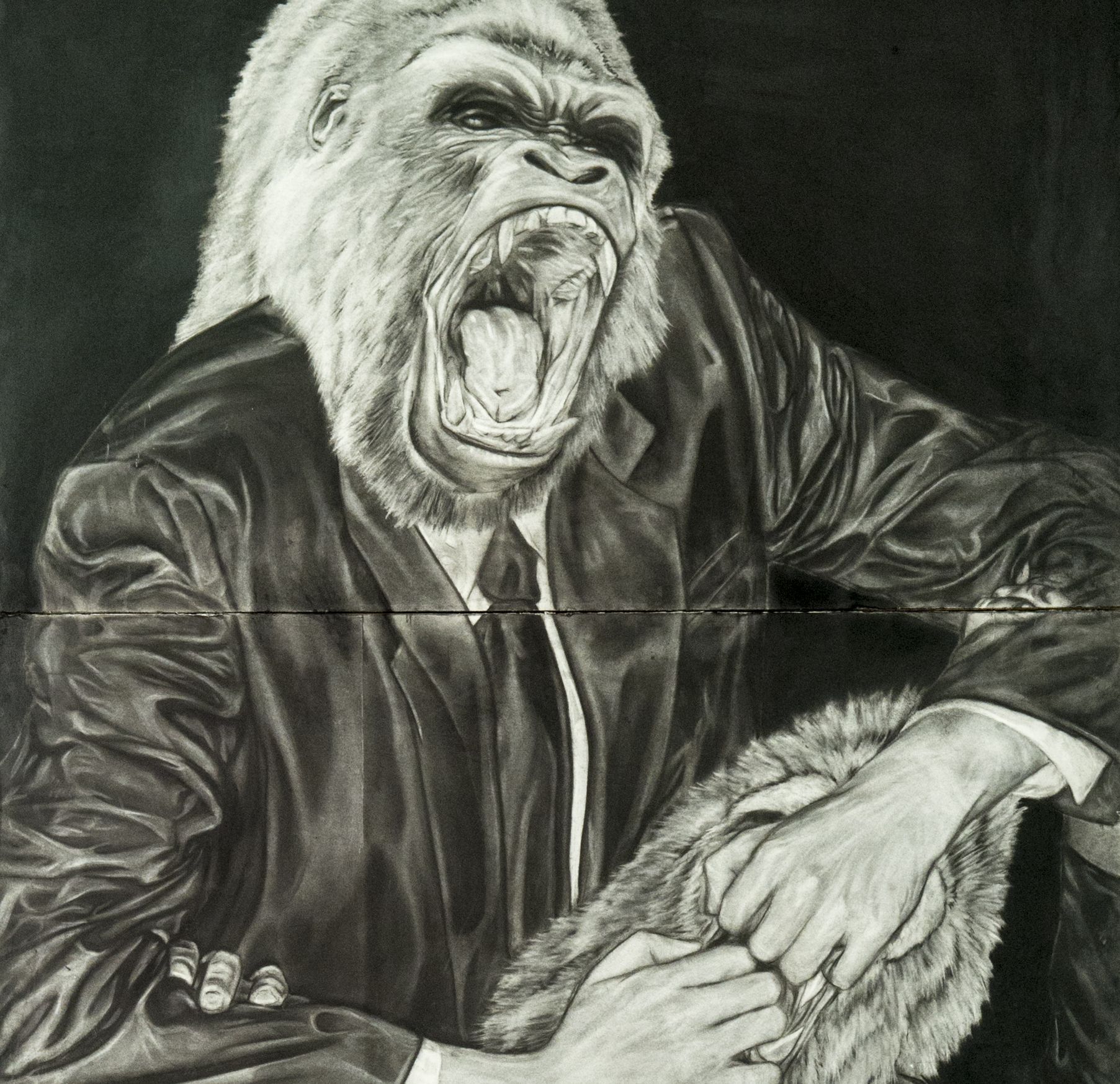 "Detail of Randy Muniz', ""Ape Dos Mil"", charcoal and aerosol installation, 2008."