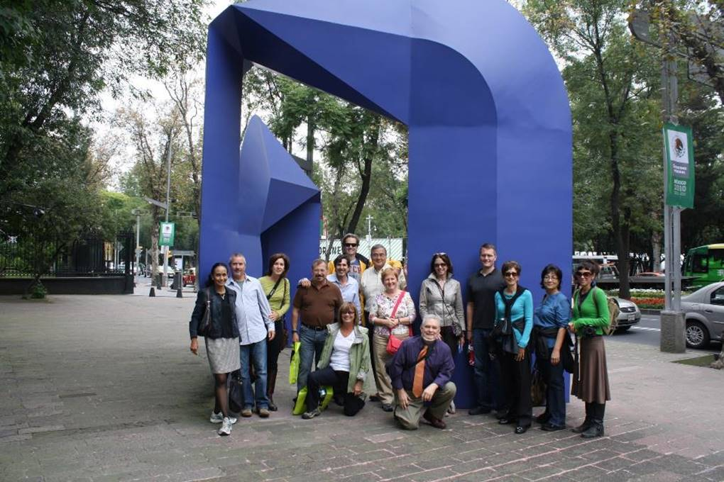 Photos by Sylvia Orozco. Group picture from previous Mexic-Arte Mexico City Art Tour at the Museo de Arte Moderno